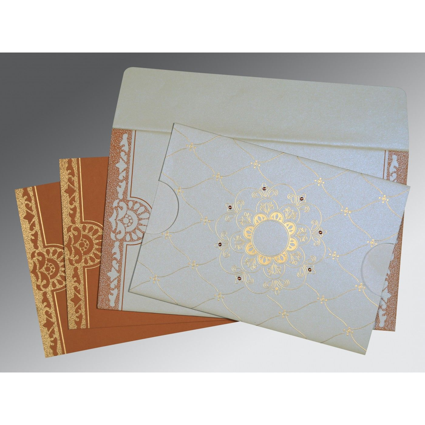 OFF-WHITE SHIMMERY FLORAL THEMED - SCREEN PRINTED WEDDING CARD : CG-8227H - IndianWeddingCards