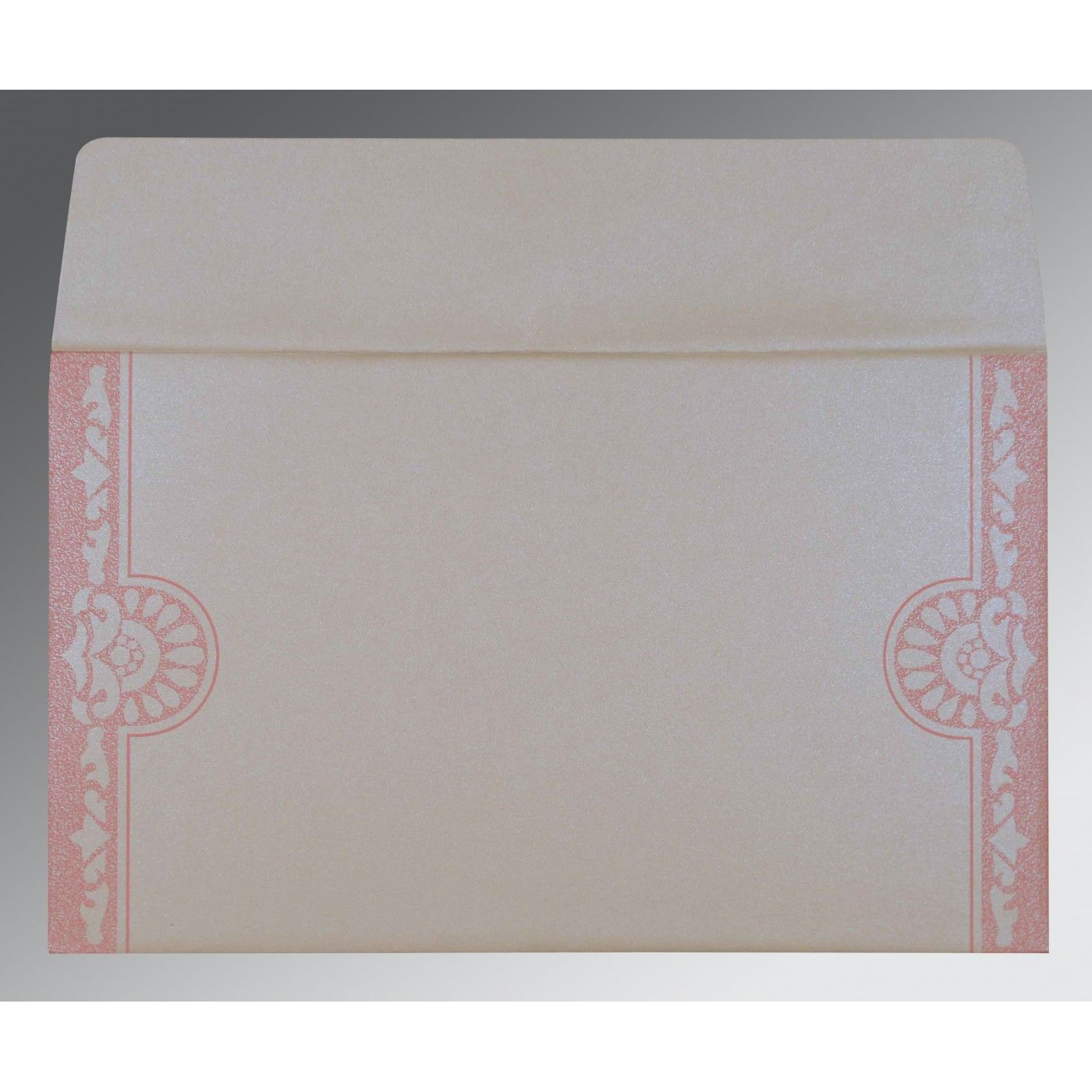 OFF-WHITE PINK SHIMMERY FLORAL THEMED - SCREEN PRINTED WEDDING CARD : CI-8227M - IndianWeddingCards