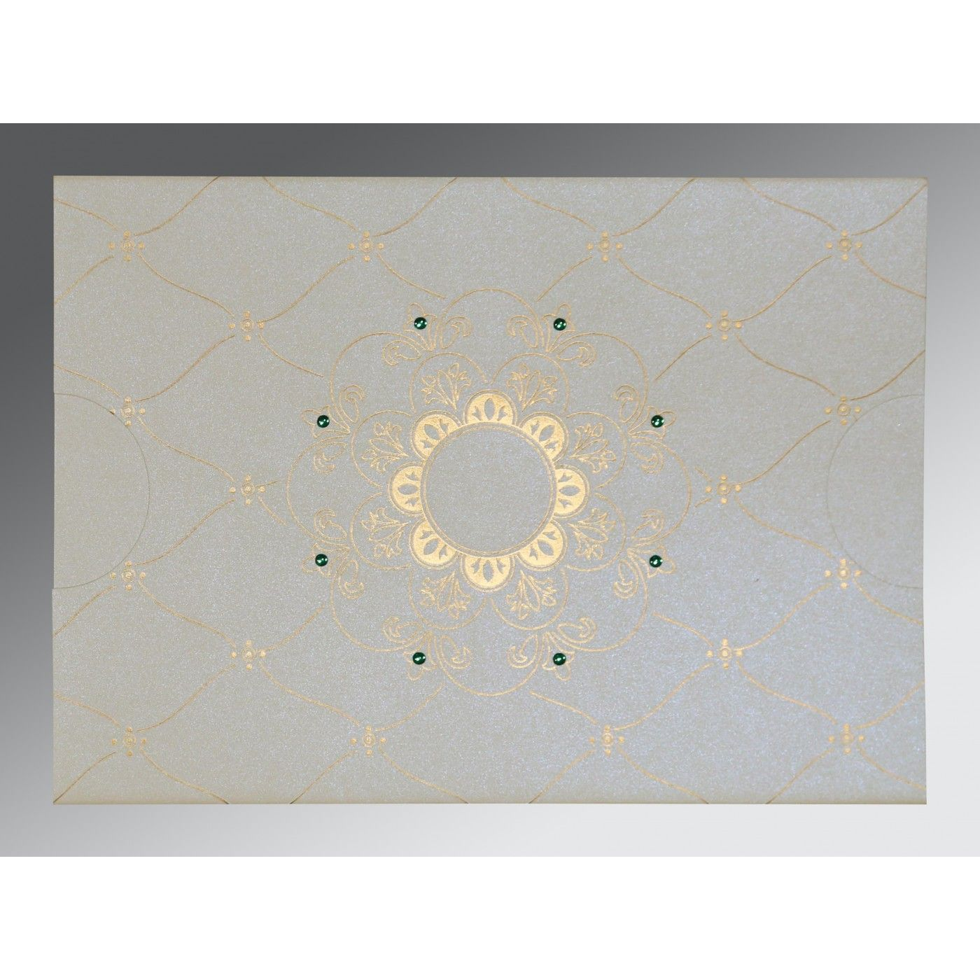 OFF-WHITE SHIMMERY FLORAL THEMED - SCREEN PRINTED WEDDING CARD : CIN-8227F - IndianWeddingCards