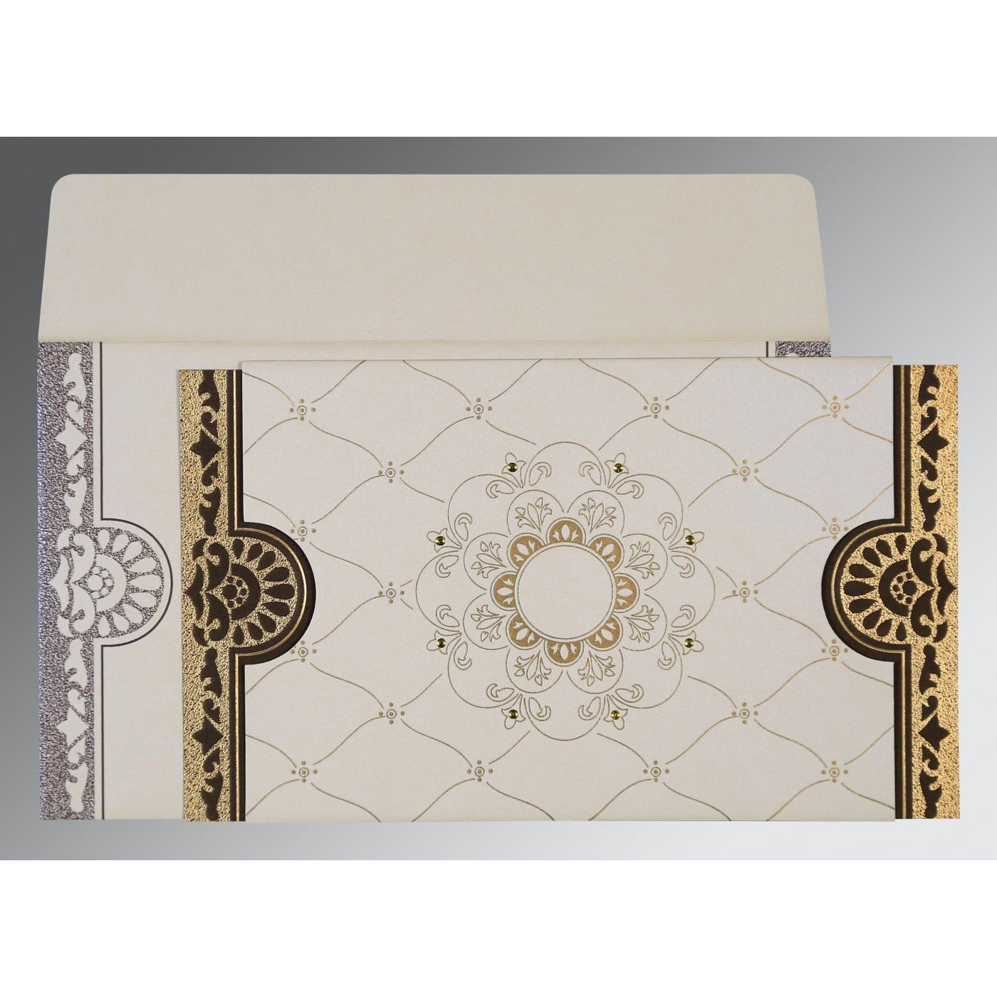 IVORY SHIMMERY FLORAL THEMED - SCREEN PRINTED WEDDING CARD : CIN-8227P - IndianWeddingCards