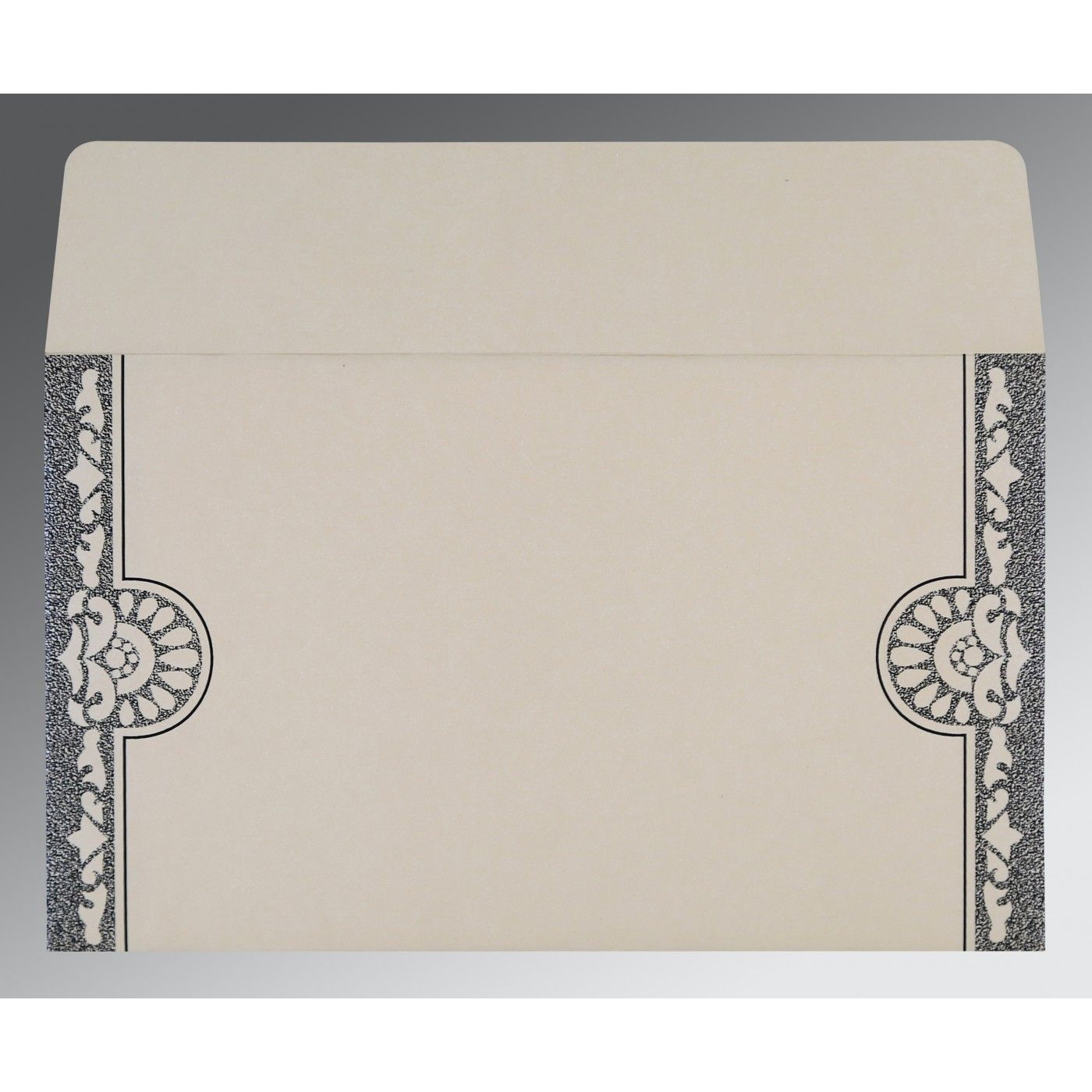 LIGHT GREY SHIMMERY FLORAL THEMED - SCREEN PRINTED WEDDING CARD : CRU-8227A - IndianWeddingCards