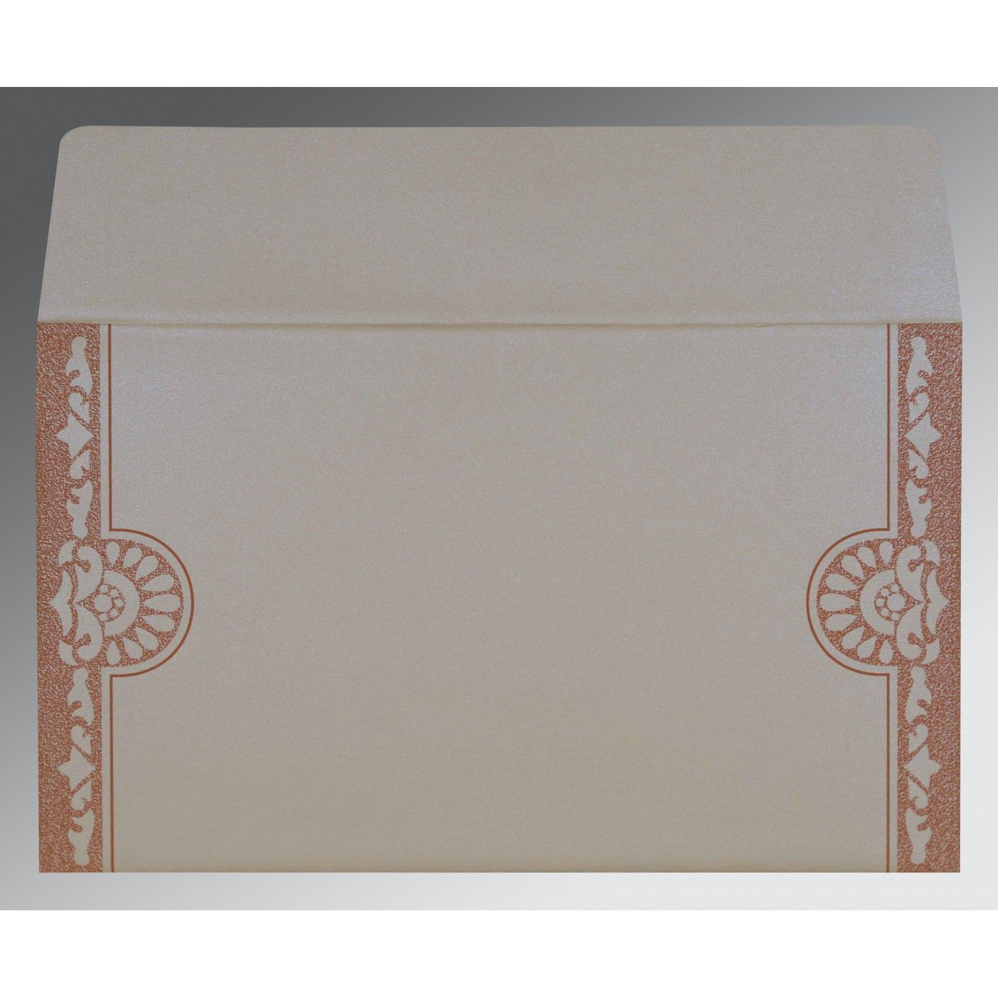 OFF-WHITE SHIMMERY FLORAL THEMED - SCREEN PRINTED WEDDING CARD : CRU-8227L - IndianWeddingCards