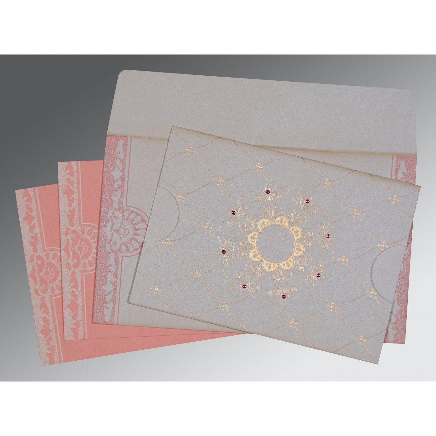 OFF-WHITE PINK SHIMMERY FLORAL THEMED - SCREEN PRINTED WEDDING CARD : CRU-8227M - IndianWeddingCards
