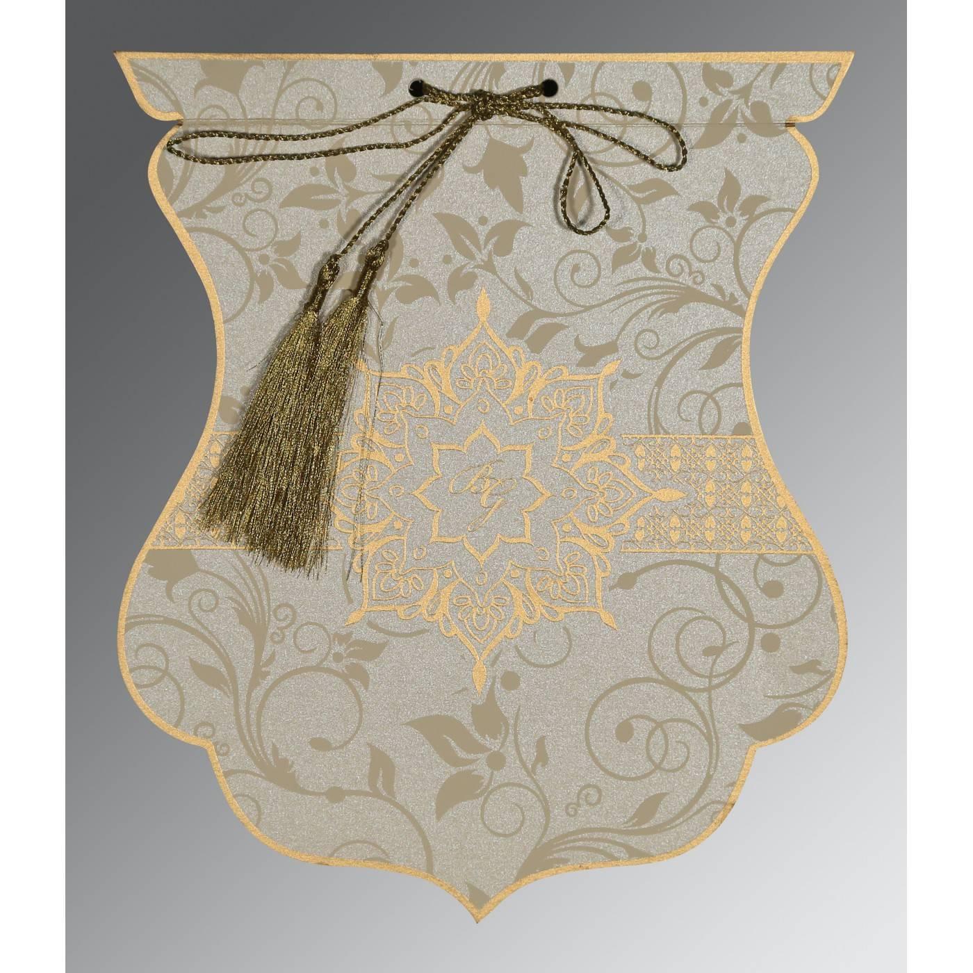 FOSSIL GREY SHIMMERY FLORAL THEMED - SCREEN PRINTED WEDDING CARD : CRU-8229E - IndianWeddingCards