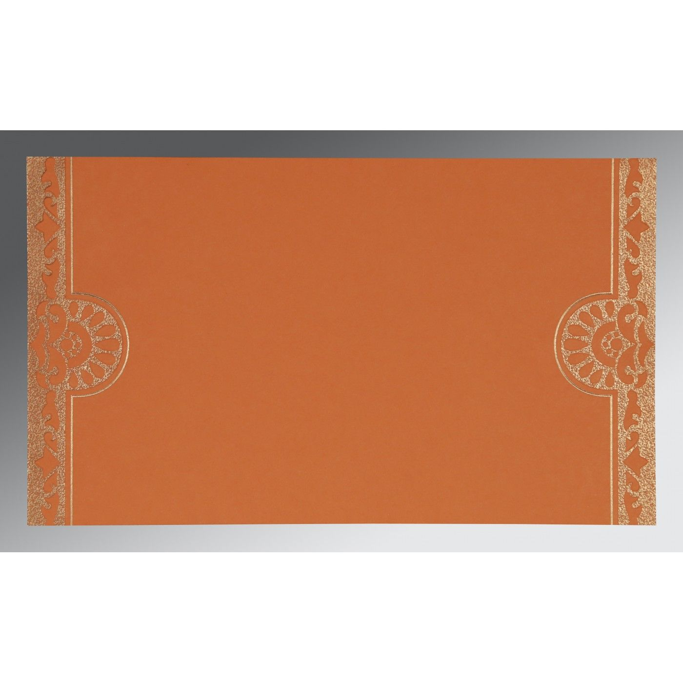 OFF-WHITE SHIMMERY FLORAL THEMED - SCREEN PRINTED WEDDING CARD : CS-8227D - IndianWeddingCards