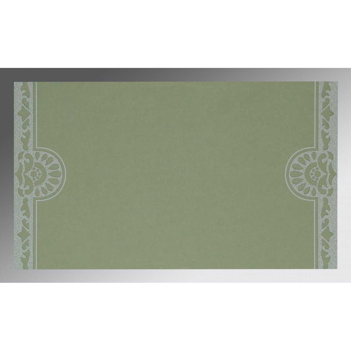 OFF-WHITE SHIMMERY FLORAL THEMED - SCREEN PRINTED WEDDING CARD : CS-8227J - IndianWeddingCards