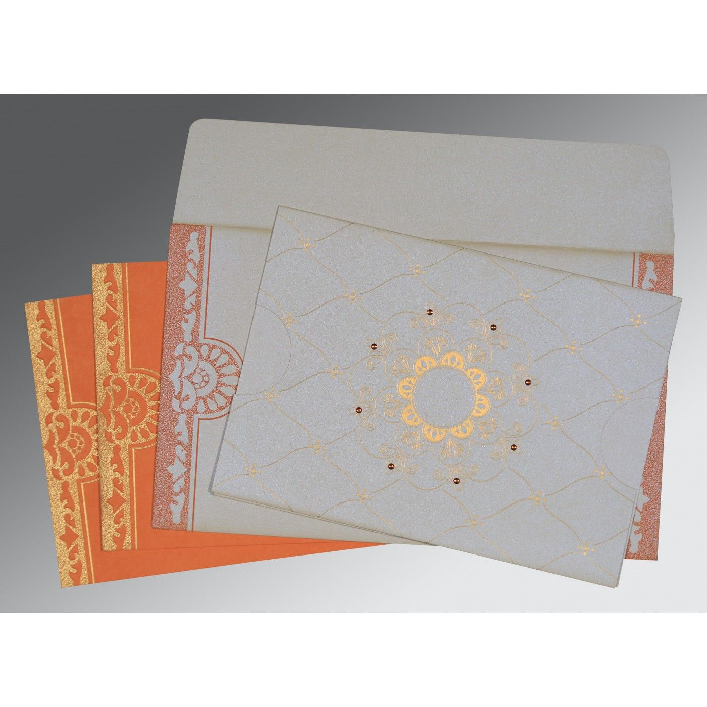 OFF-WHITE BLUE SHIMMERY FLORAL THEMED - SCREEN PRINTED WEDDING CARD : CW-8227N - IndianWeddingCards