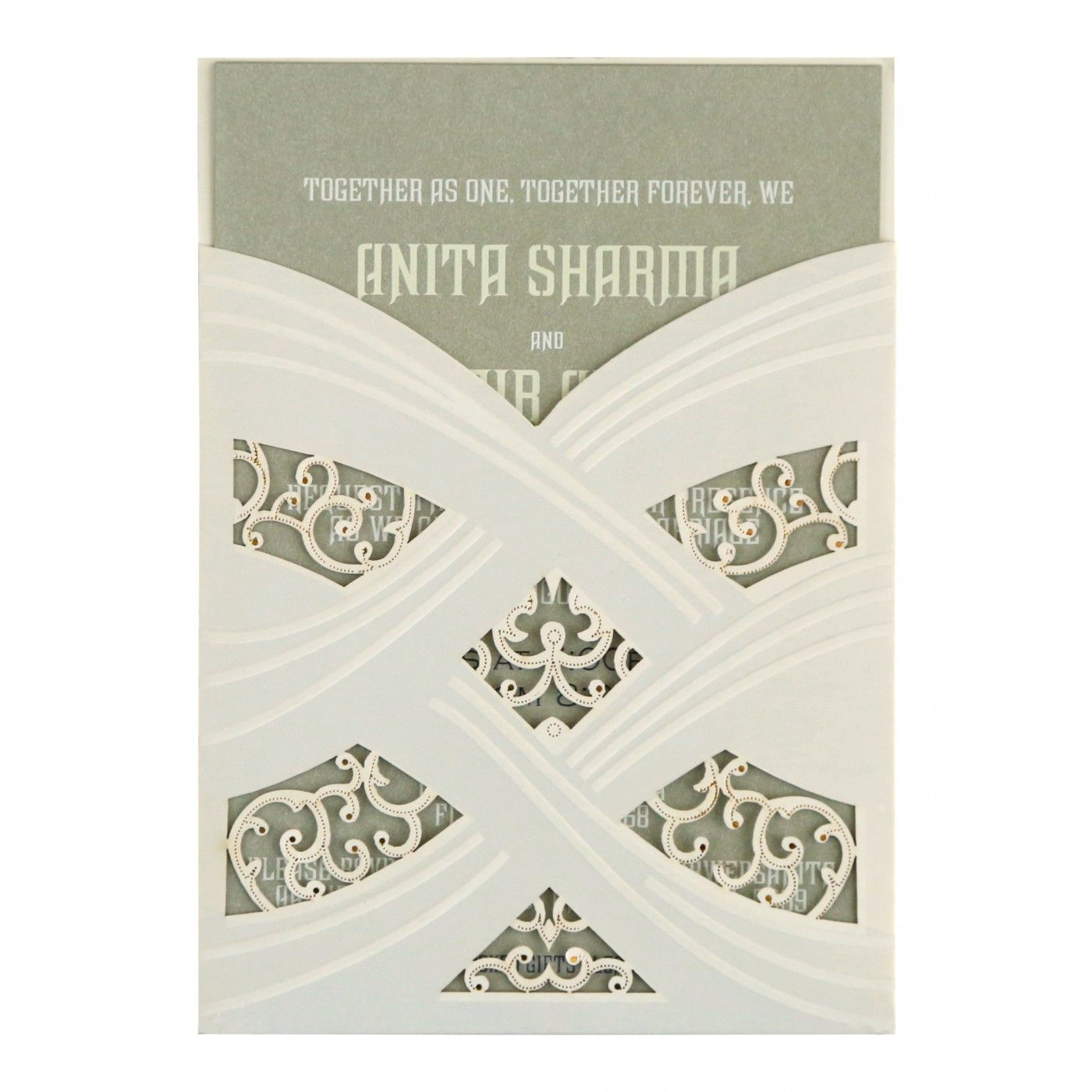 IVORY SHIMMERY LASER CUT WEDDING CARD : CG-1590 - IndianWeddingCards