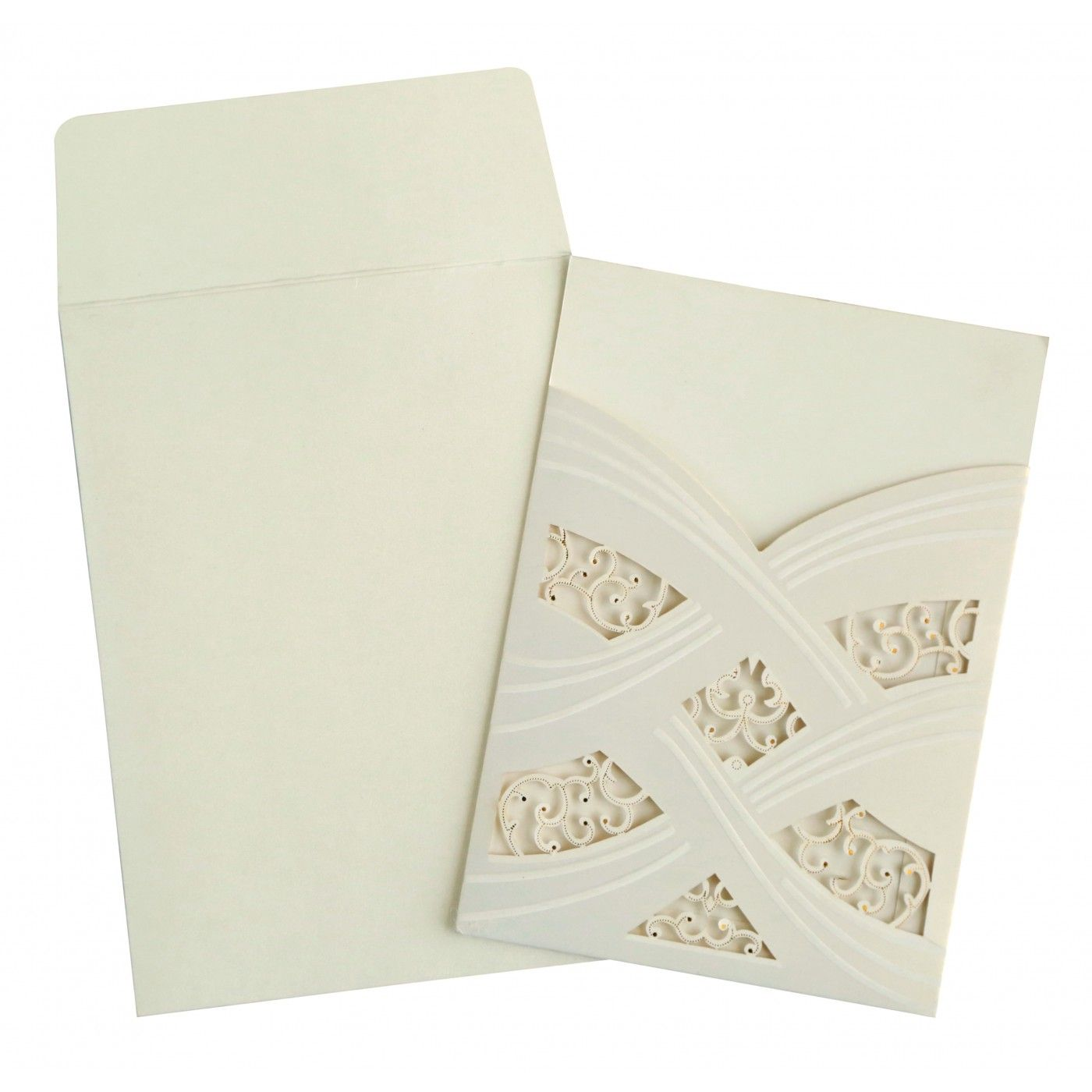 IVORY SHIMMERY LASER CUT WEDDING CARD : CRU-1590 - IndianWeddingCards