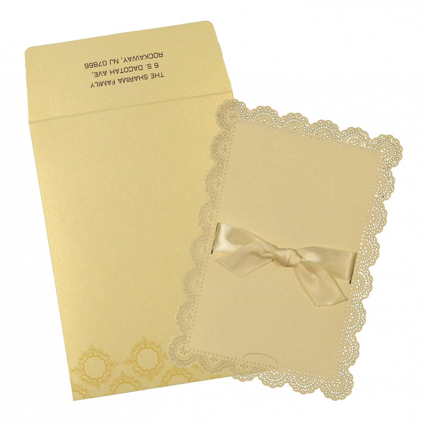 IVORY SHIMMERY LASER CUT WEDDING INVITATION : CW-1588 - IndianWeddingCards