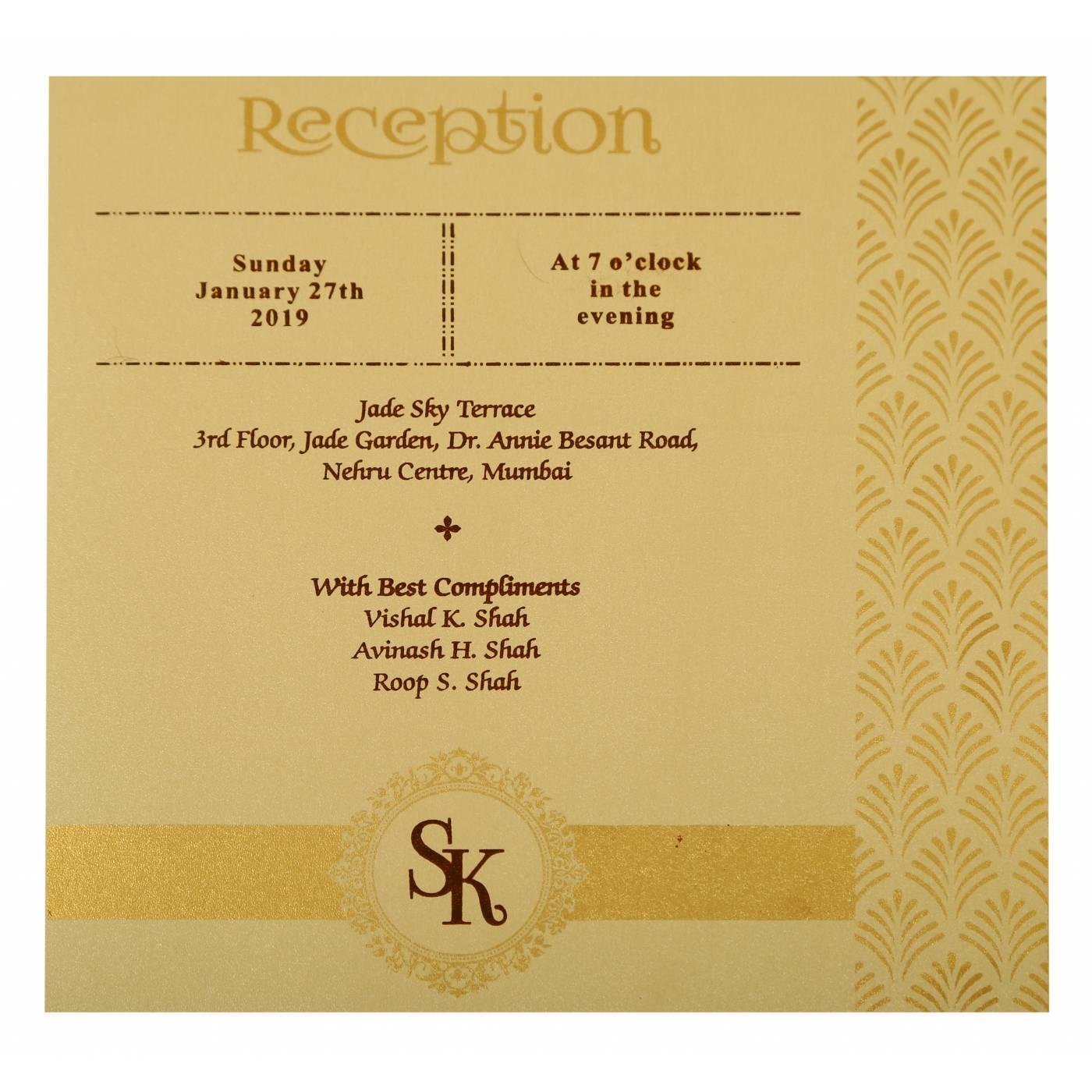 IVORY SHIMMERY PAISLEY THEMED - LASER CUT WEDDING INVITATION : CW-1929 - IndianWeddingCards