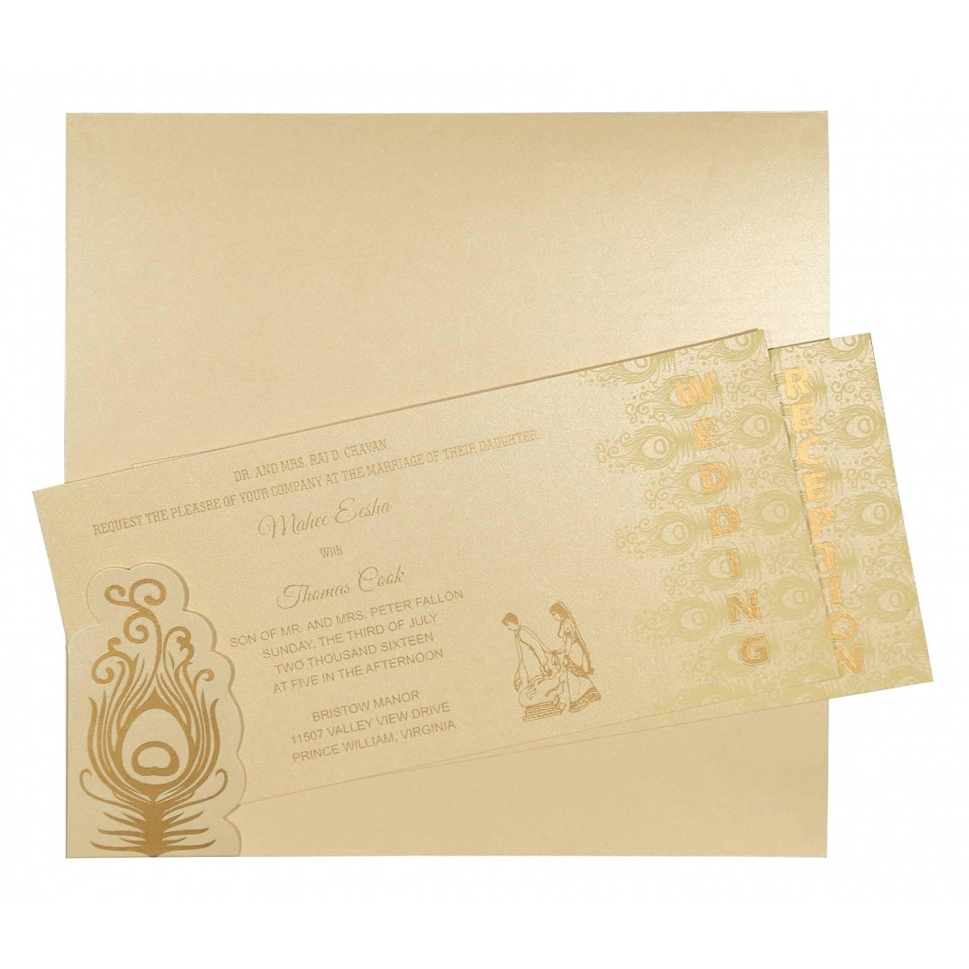 BEIGE GOLD SHIMMERY PEACOCK THEMED - SCREEN PRINTED WEDDING INVITATION : CD-8256B - IndianWeddingCards