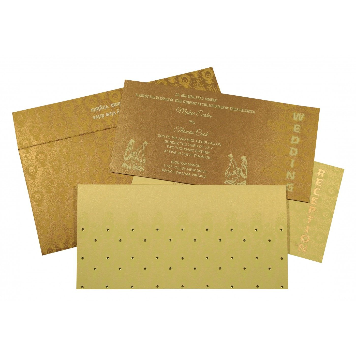 CREAM GOLD SHIMMERY PEACOCK THEMED - SCREEN PRINTED WEDDING INVITATION : CRU-8256A - IndianWeddingCards