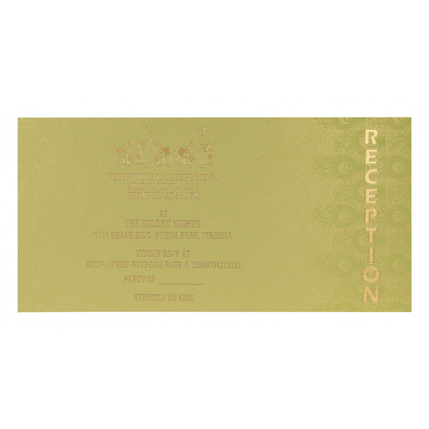 CREAM GOLD SHIMMERY PEACOCK THEMED - SCREEN PRINTED WEDDING INVITATION : CS-8256A - IndianWeddingCards