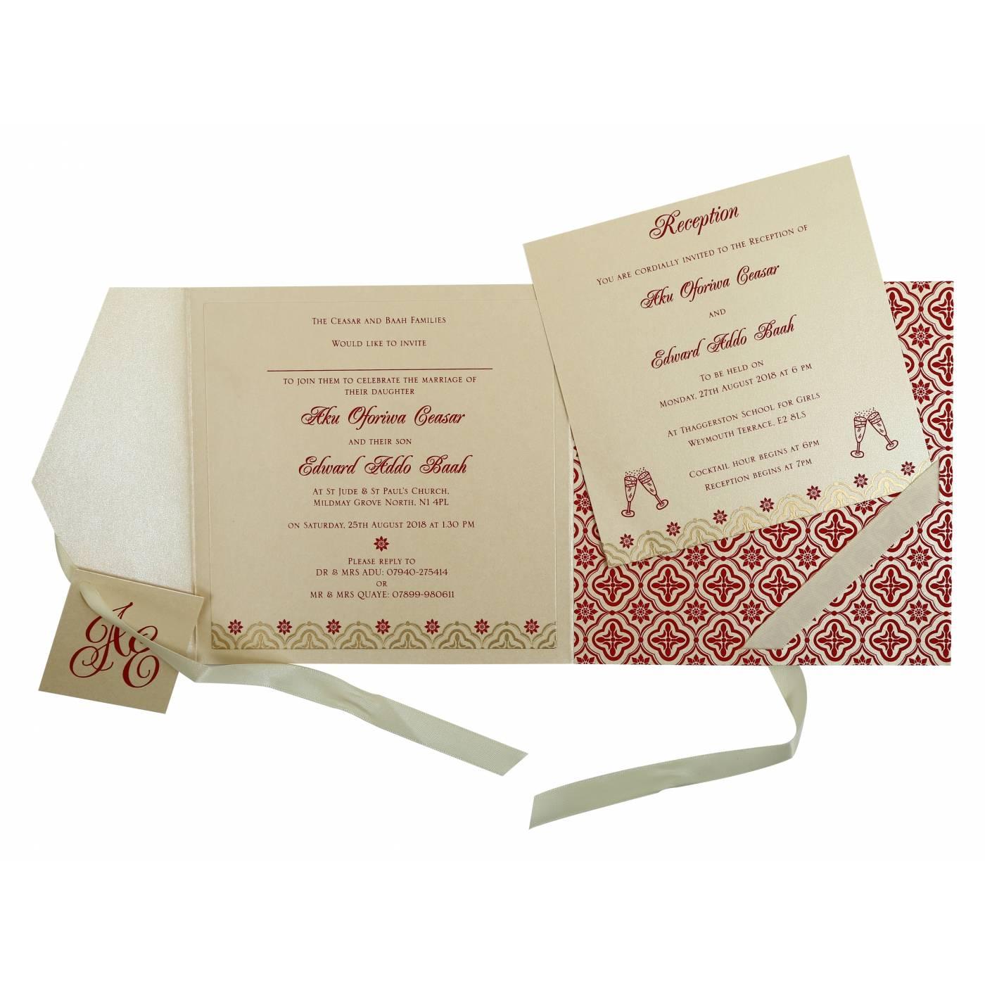 IVORY SHIMMERY SCREEN PRINTED WEDDING INVITATION : CSO-805E - IndianWeddingCards