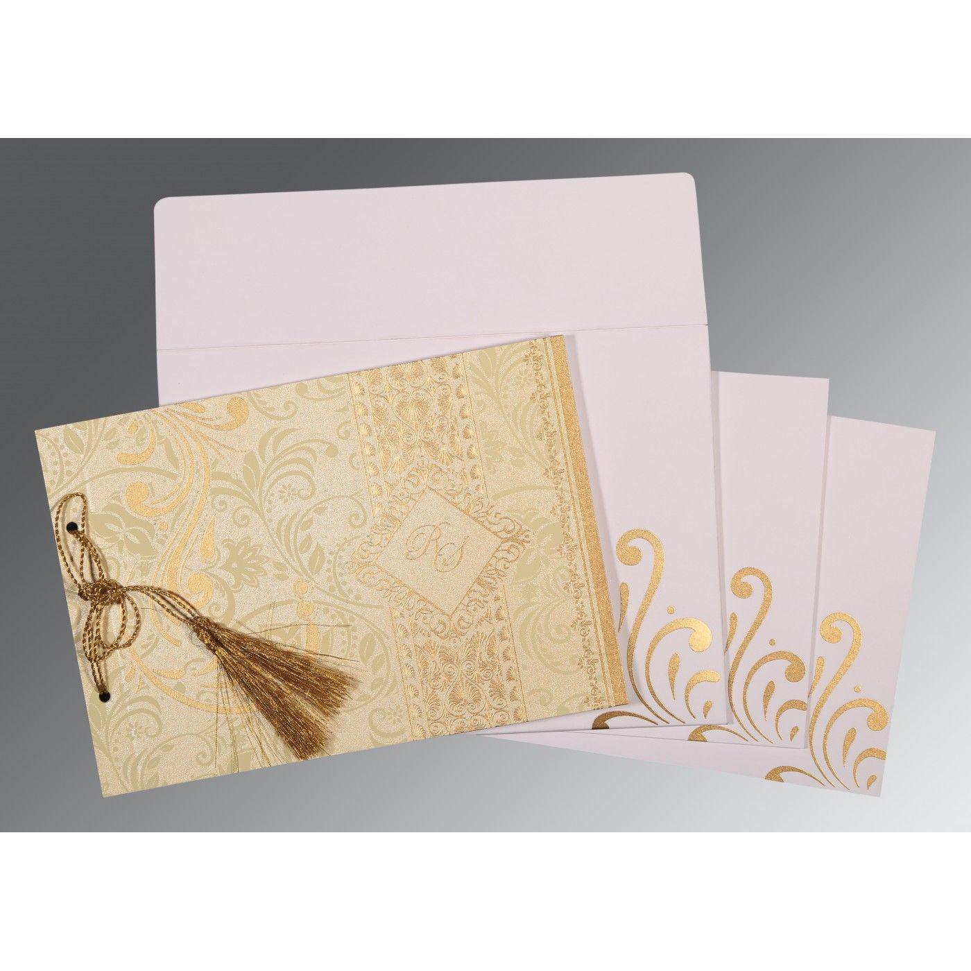 CHAMOISEE SHIMMERY SCREEN PRINTED WEDDING CARD : CD-8223L - IndianWeddingCards