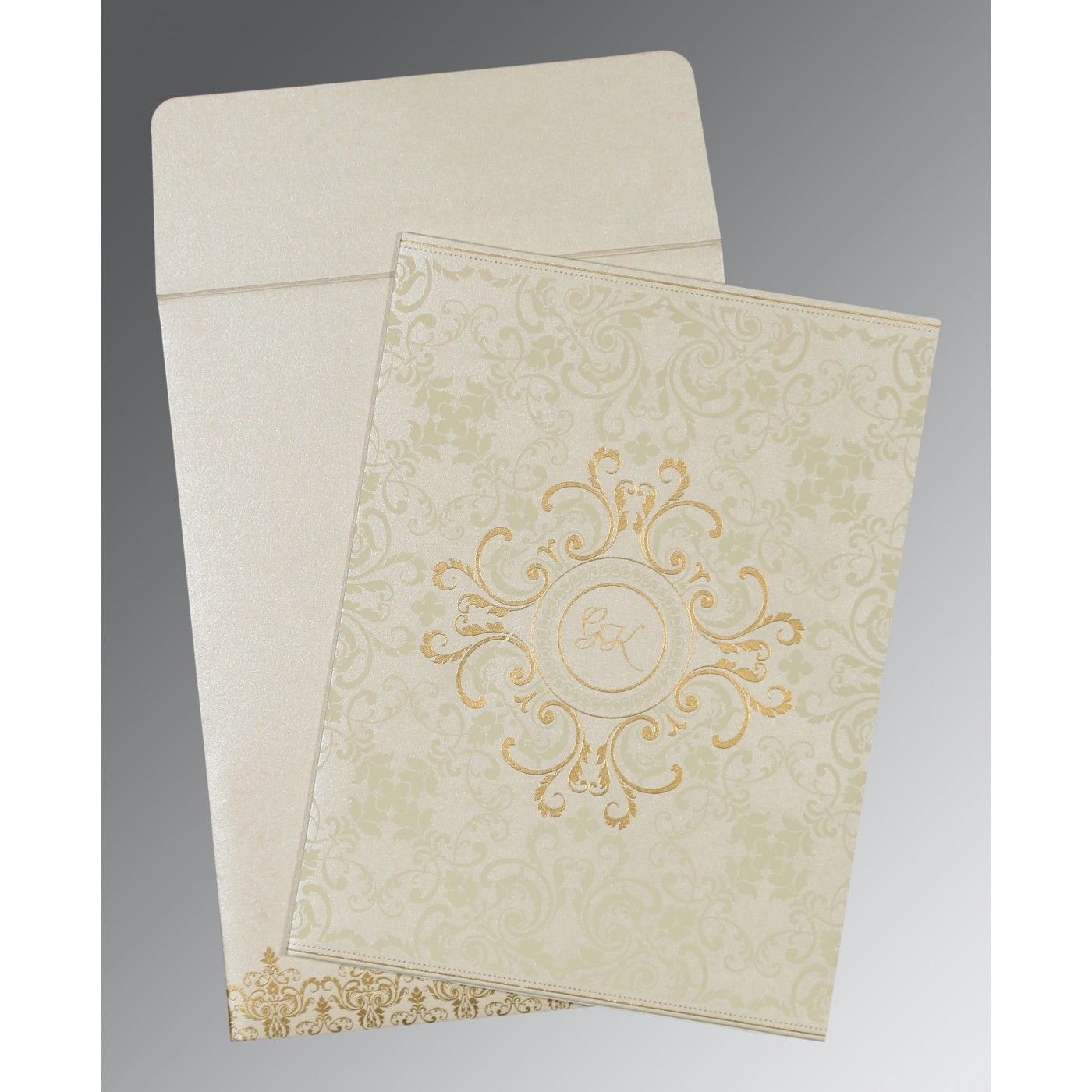 OFF-WHITE SHIMMERY SCREEN PRINTED WEDDING CARD : CD-8244B - IndianWeddingCards