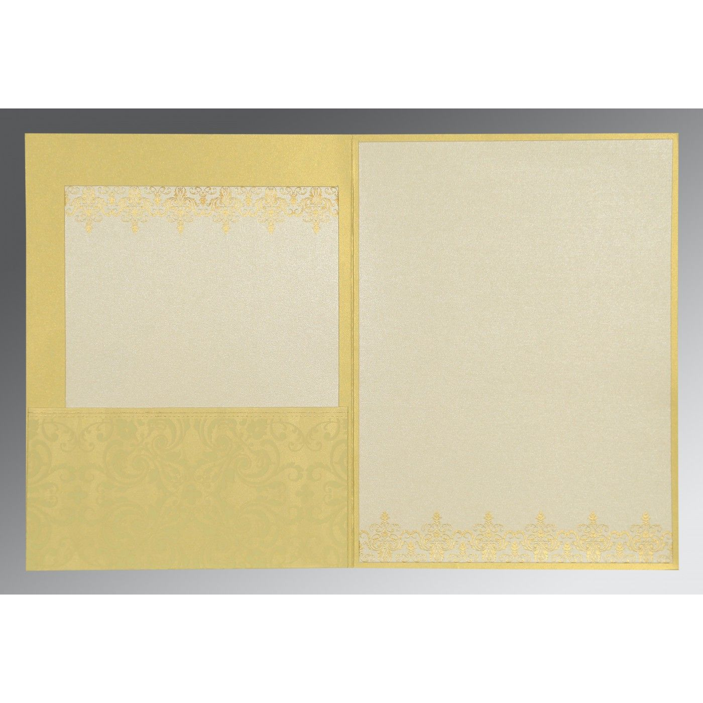 STRAW YELLOW SHIMMERY SCREEN PRINTED WEDDING CARD : CI-8244J - IndianWeddingCards