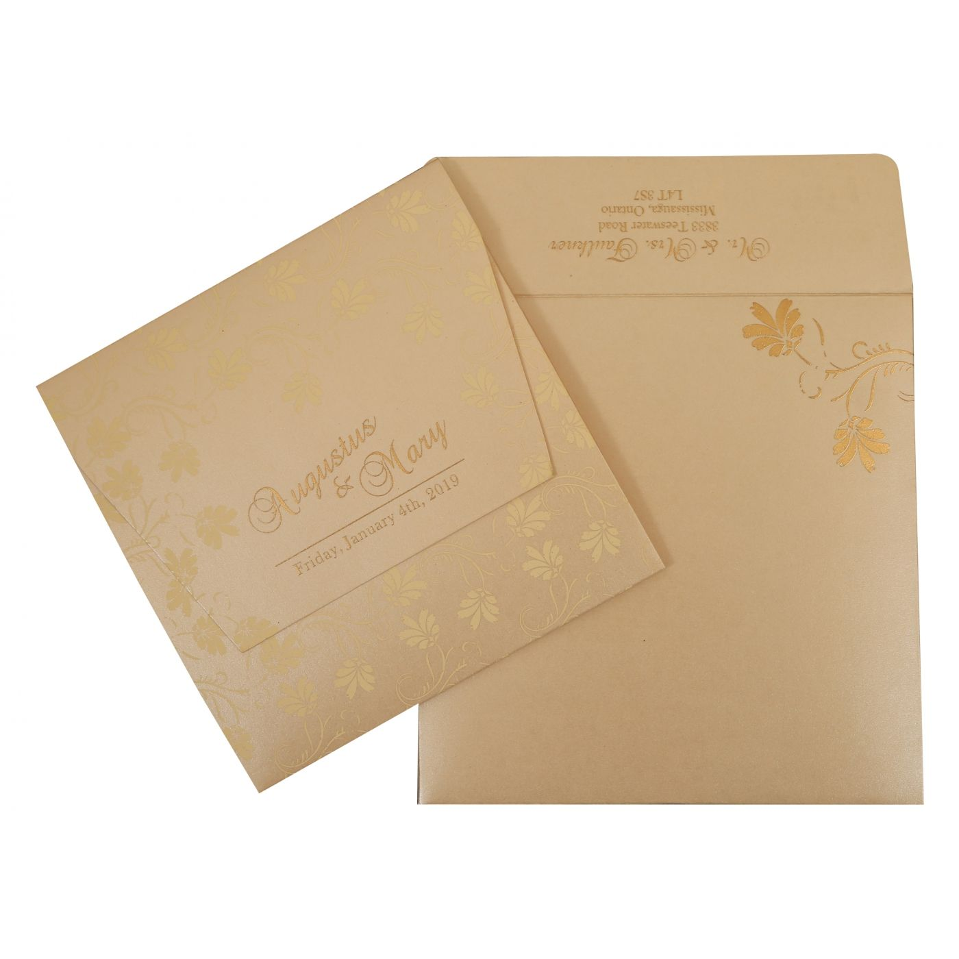 BEIGE SHIMMERY SCREEN PRINTED WEDDING INVITATION : CIN-803E - IndianWeddingCards