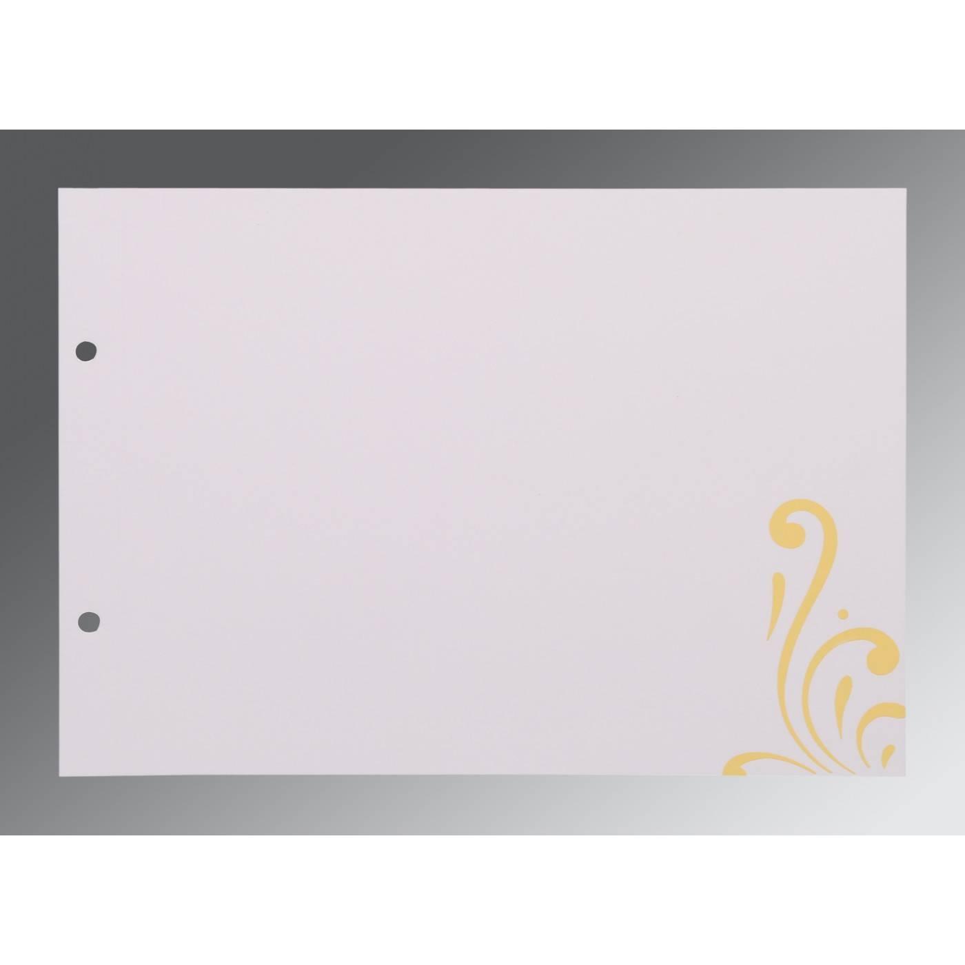 MUSTARD YELLOW SHIMMERY SCREEN PRINTED WEDDING CARD : CIN-8223D - IndianWeddingCards