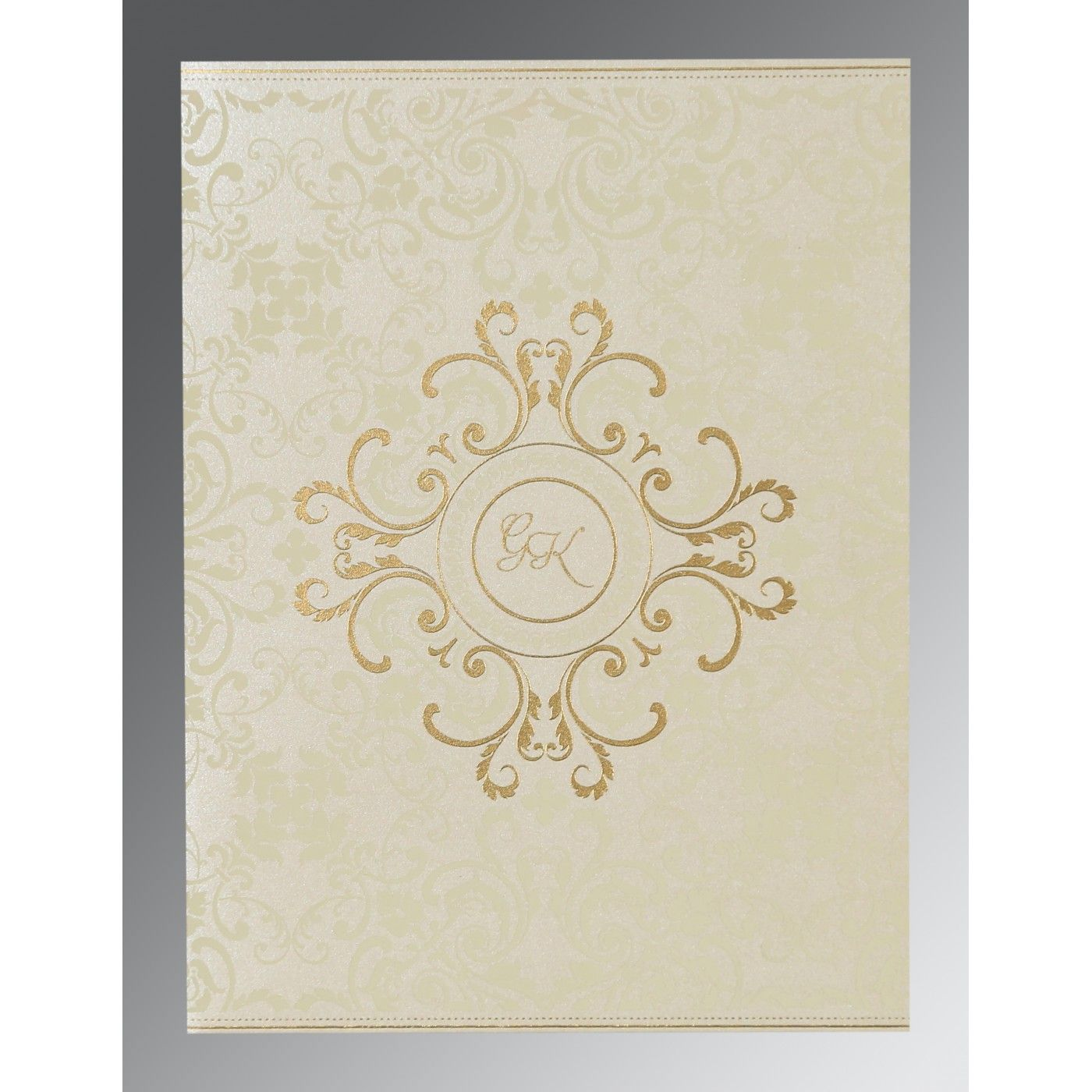 OFF-WHITE SHIMMERY SCREEN PRINTED WEDDING CARD : CIN-8244B - IndianWeddingCards