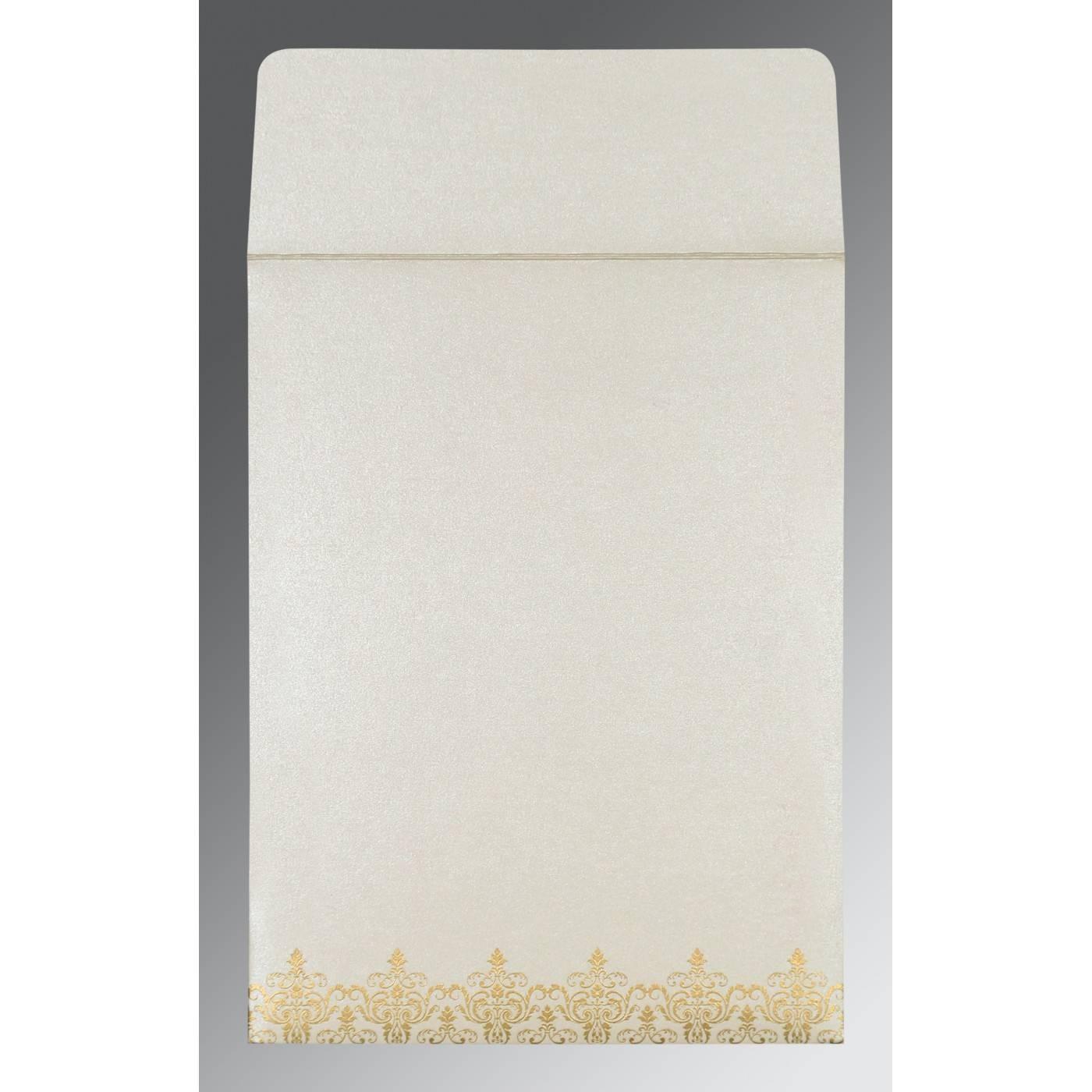 OFF-WHITE SHIMMERY SCREEN PRINTED WEDDING CARD : CRU-8244B - IndianWeddingCards