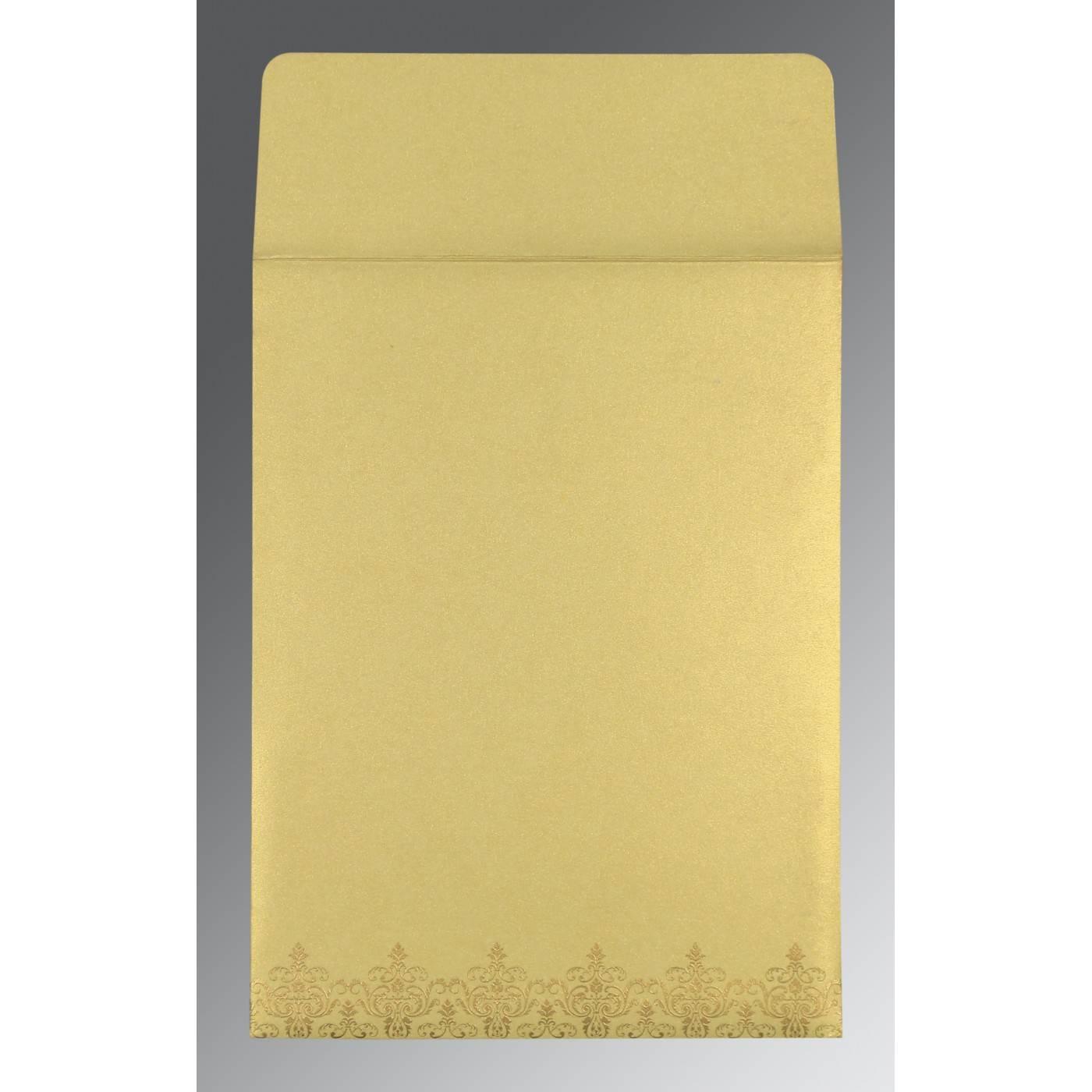 STRAW YELLOW SHIMMERY SCREEN PRINTED WEDDING CARD : CRU-8244J - IndianWeddingCards