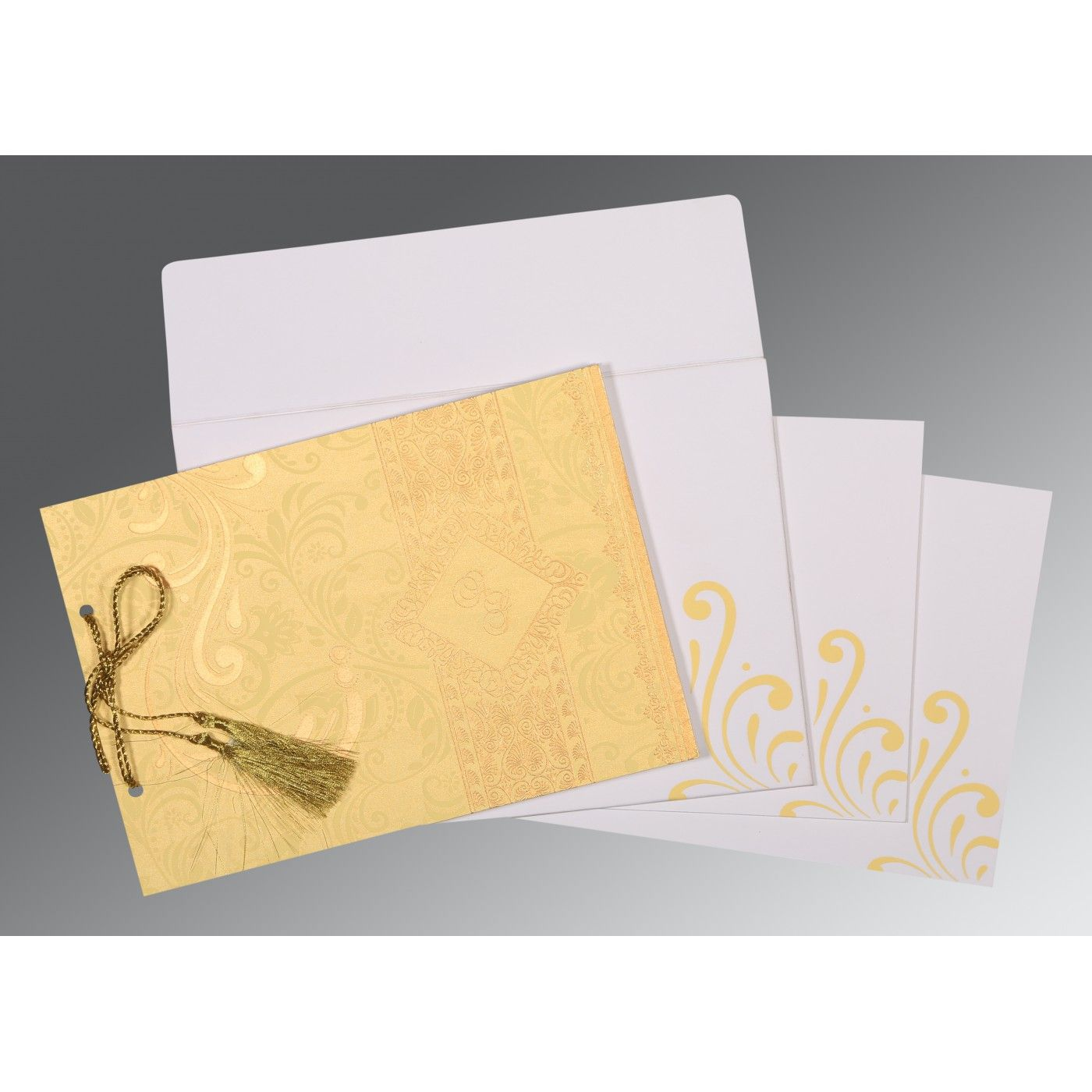 MUSTARD YELLOW SHIMMERY SCREEN PRINTED WEDDING CARD : CSO-8223D - IndianWeddingCards