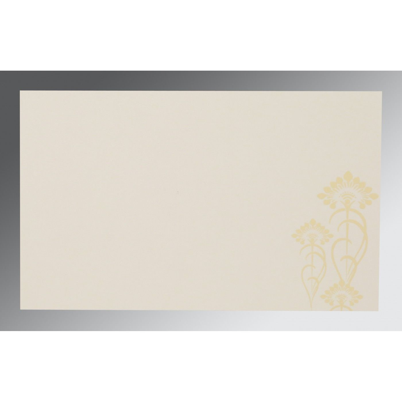 CREAM SHIMMERY SCREEN PRINTED WEDDING CARD : CSO-8239I - IndianWeddingCards