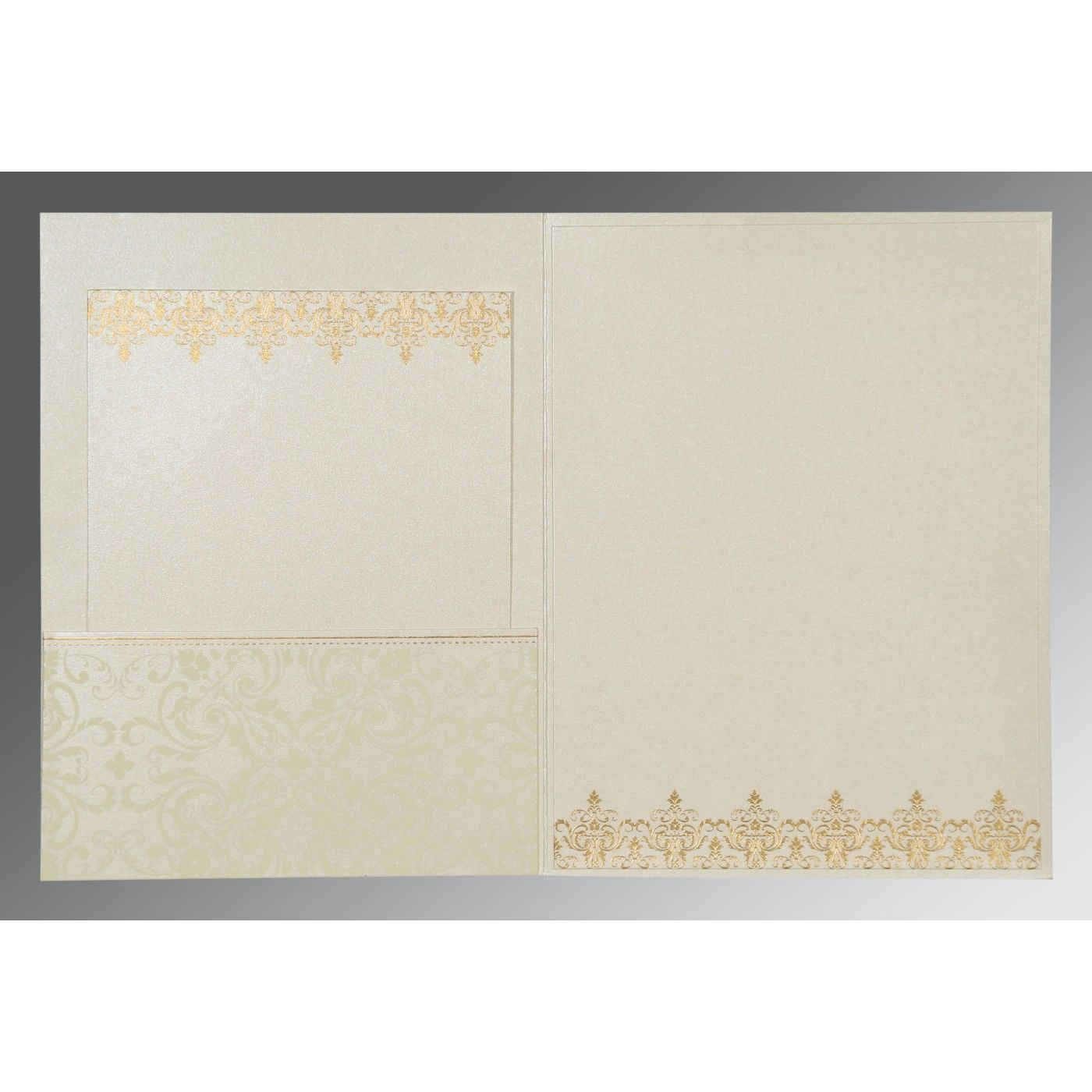 OFF-WHITE SHIMMERY SCREEN PRINTED WEDDING CARD : CSO-8244B - IndianWeddingCards