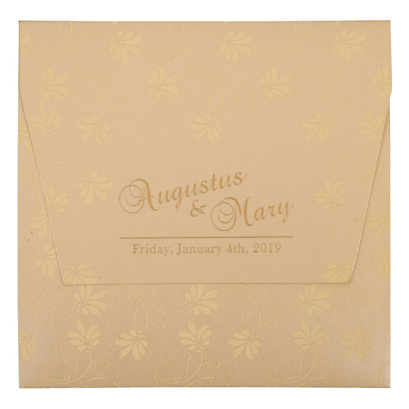 BEIGE SHIMMERY SCREEN PRINTED WEDDING INVITATION : CW-803E - IndianWeddingCards