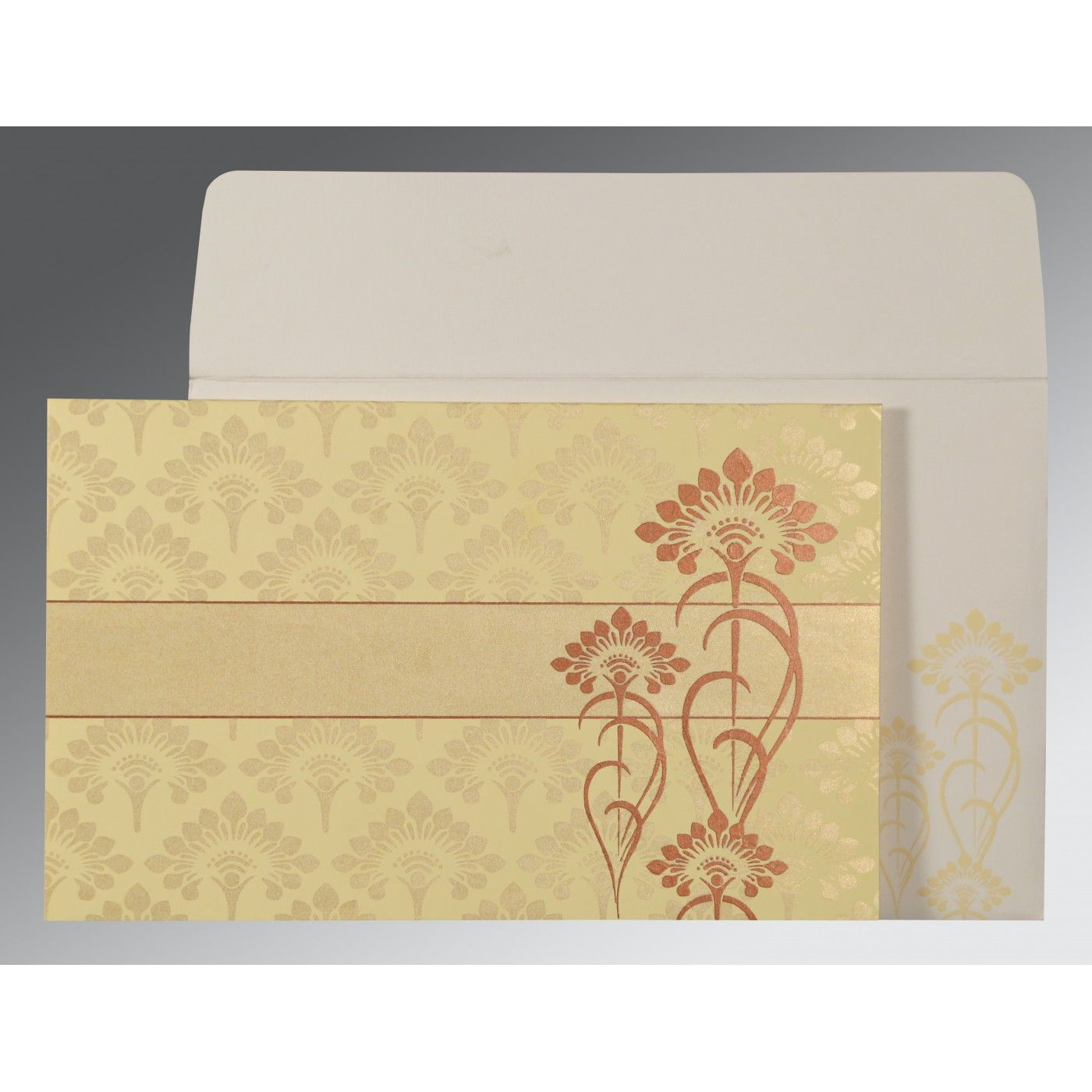 CREAM SHIMMERY SCREEN PRINTED WEDDING CARD : CW-8239I - IndianWeddingCards