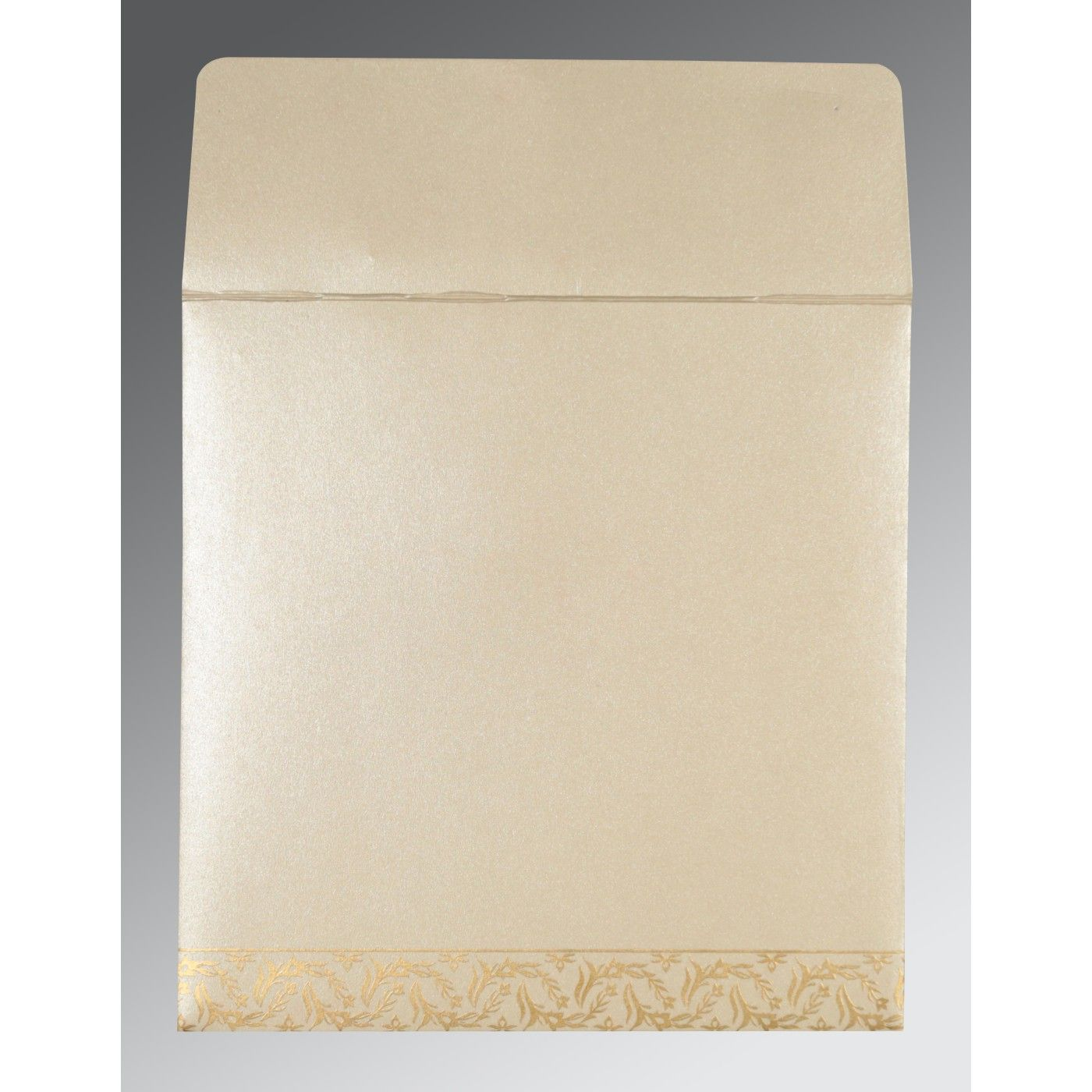 IVORY SHIMMERY UNIQUE THEMED - FOIL STAMPED WEDDING CARD : CRU-8249B - IndianWeddingCards