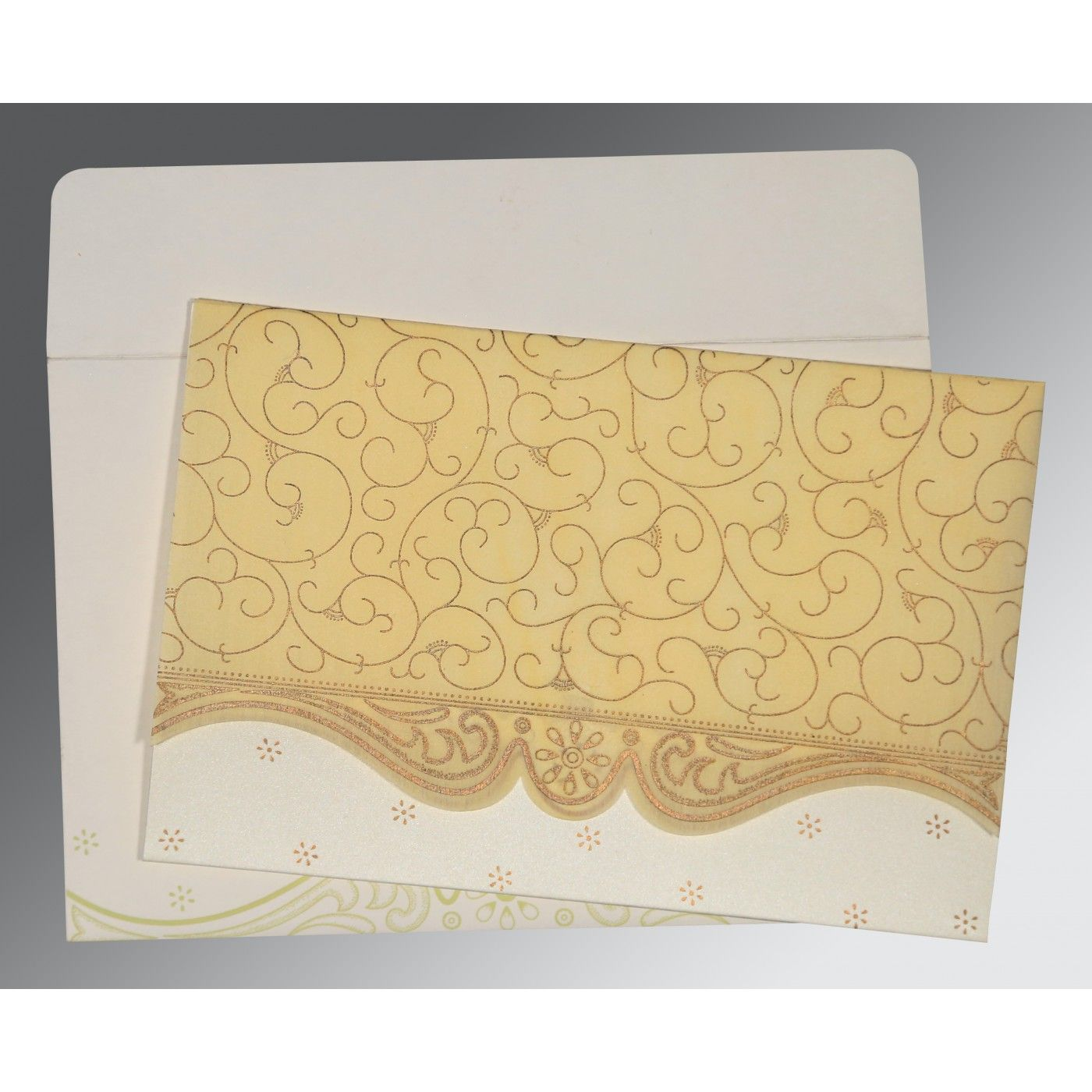 MUSTARD YELLOW MATTE EMBOSSED WEDDING INVITATION : CI-8221K - IndianWeddingCards