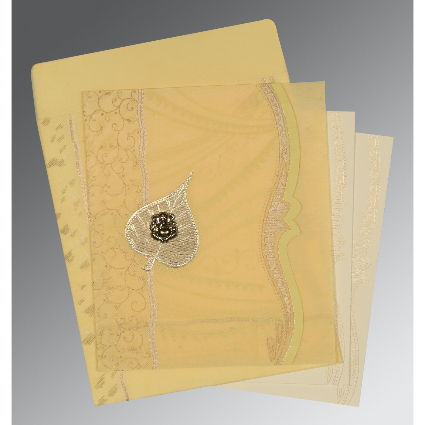 MUSTARD YELLOW SHIMMERY EMBOSSED WEDDING CARD : CIN-8210G - IndianWeddingCards