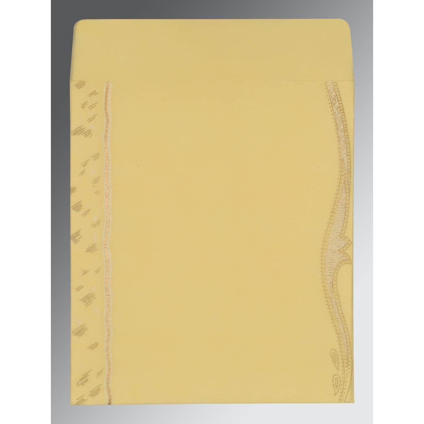 MUSTARD YELLOW SHIMMERY EMBOSSED WEDDING CARD : CIN-8210G - IndianWeddingCards