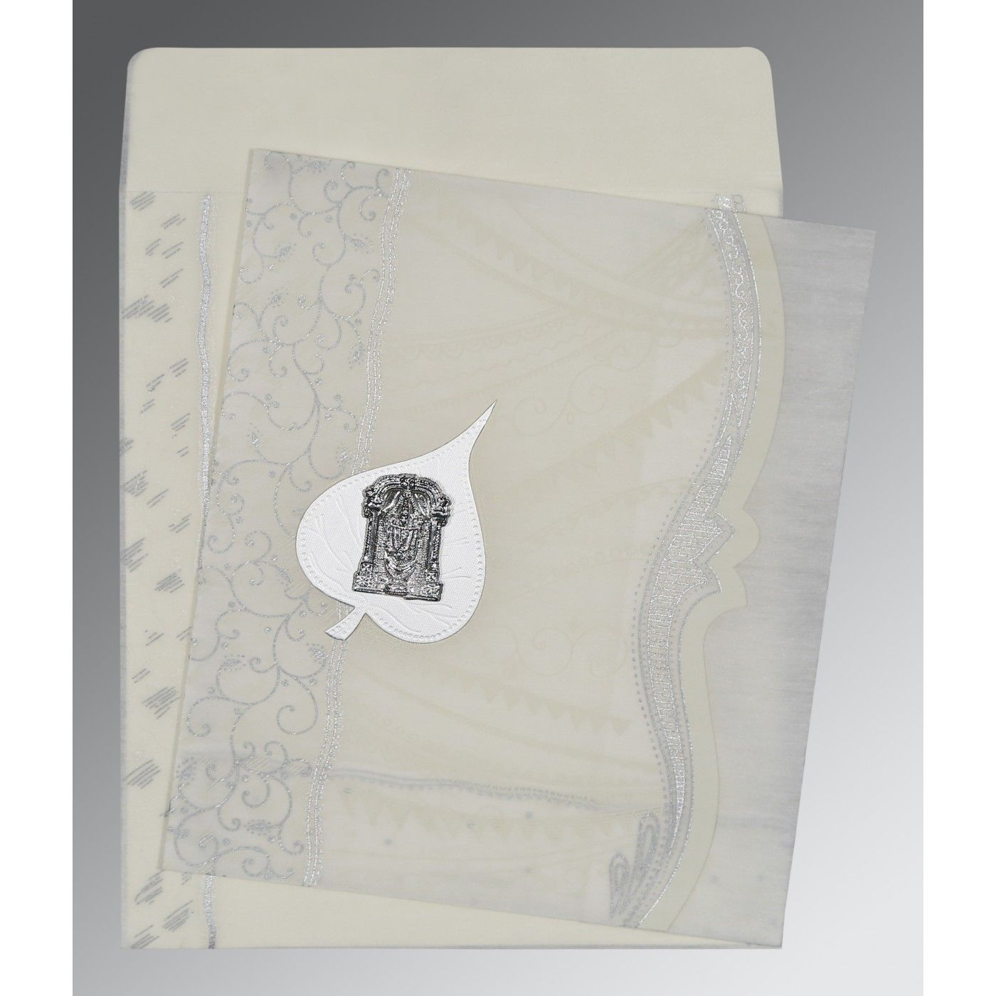 PEARL SHIMMERY EMBOSSED WEDDING CARD : CSO-8210J - IndianWeddingCards