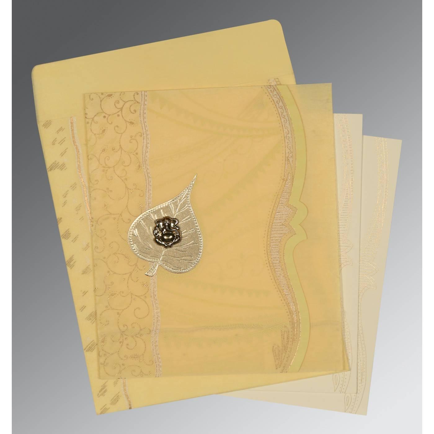 MUSTARD YELLOW SHIMMERY EMBOSSED WEDDING CARD : CW-8210G - IndianWeddingCards