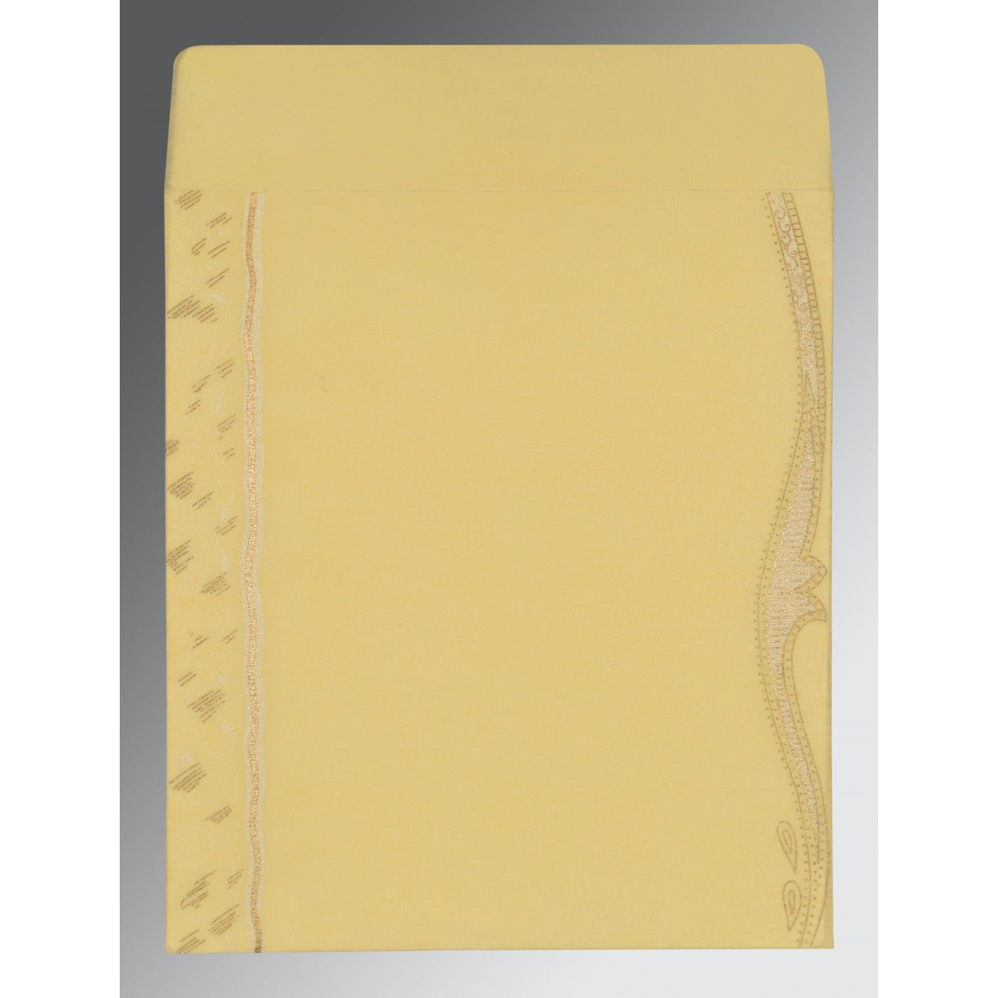 MUSTARD YELLOW SHIMMERY EMBOSSED WEDDING CARD : CW-8210G - IndianWeddingCards