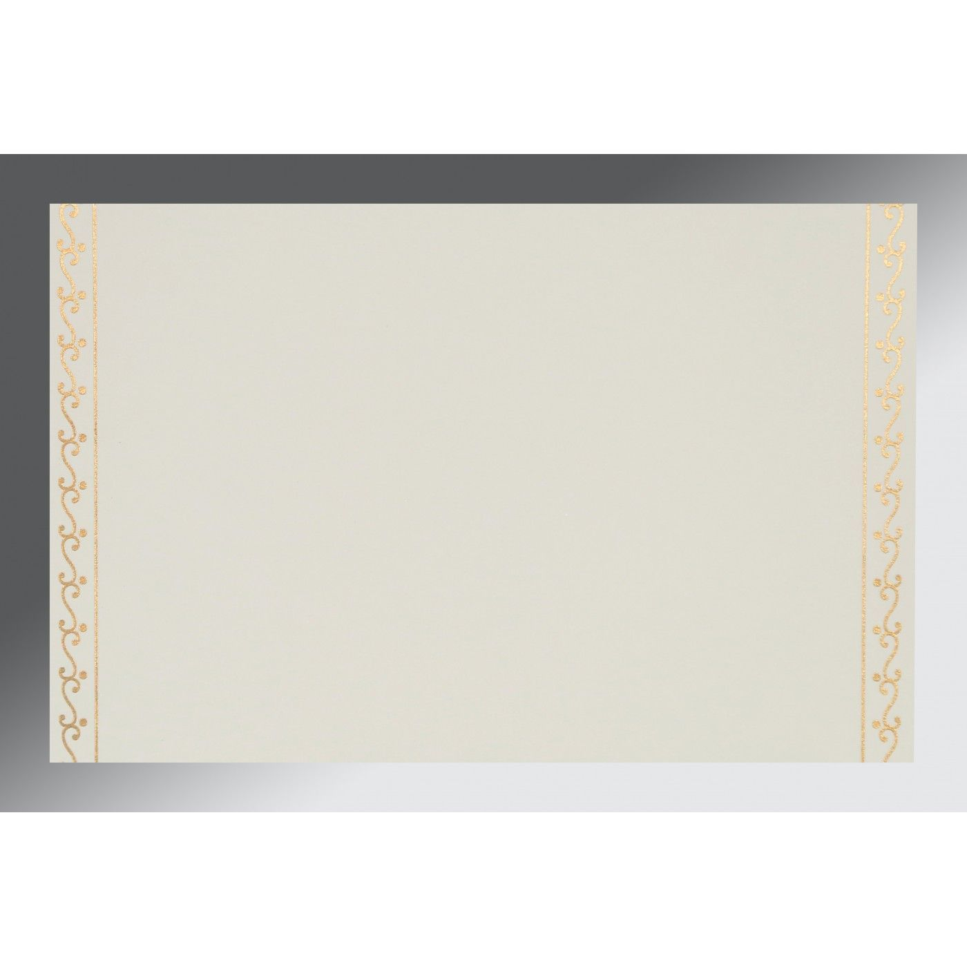 OFF-WHITE MATTE EMBOSSED WEDDING INVITATION : CW-8221G - IndianWeddingCards