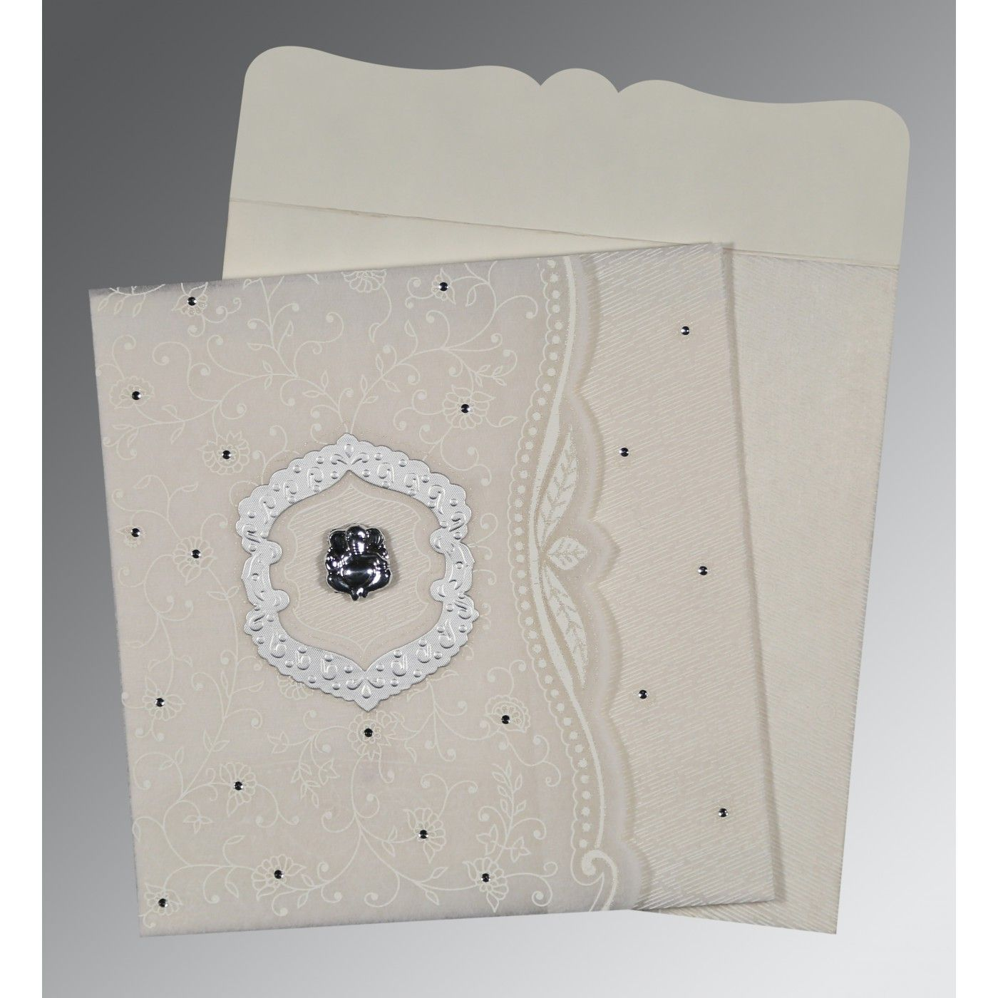 PEARL SHIMMERY FLORAL THEMED - EMBOSSED WEDDING CARD : CIN-8209N - IndianWeddingCards