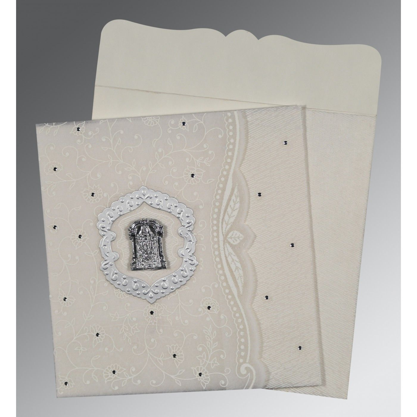 PEARL SHIMMERY FLORAL THEMED - EMBOSSED WEDDING CARD : CSO-8209N - IndianWeddingCards