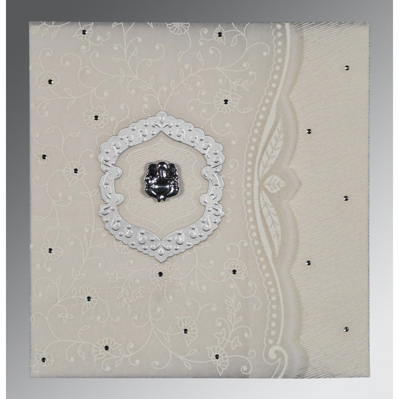 PEARL SHIMMERY FLORAL THEMED - EMBOSSED WEDDING CARD : CW-8209N - IndianWeddingCards