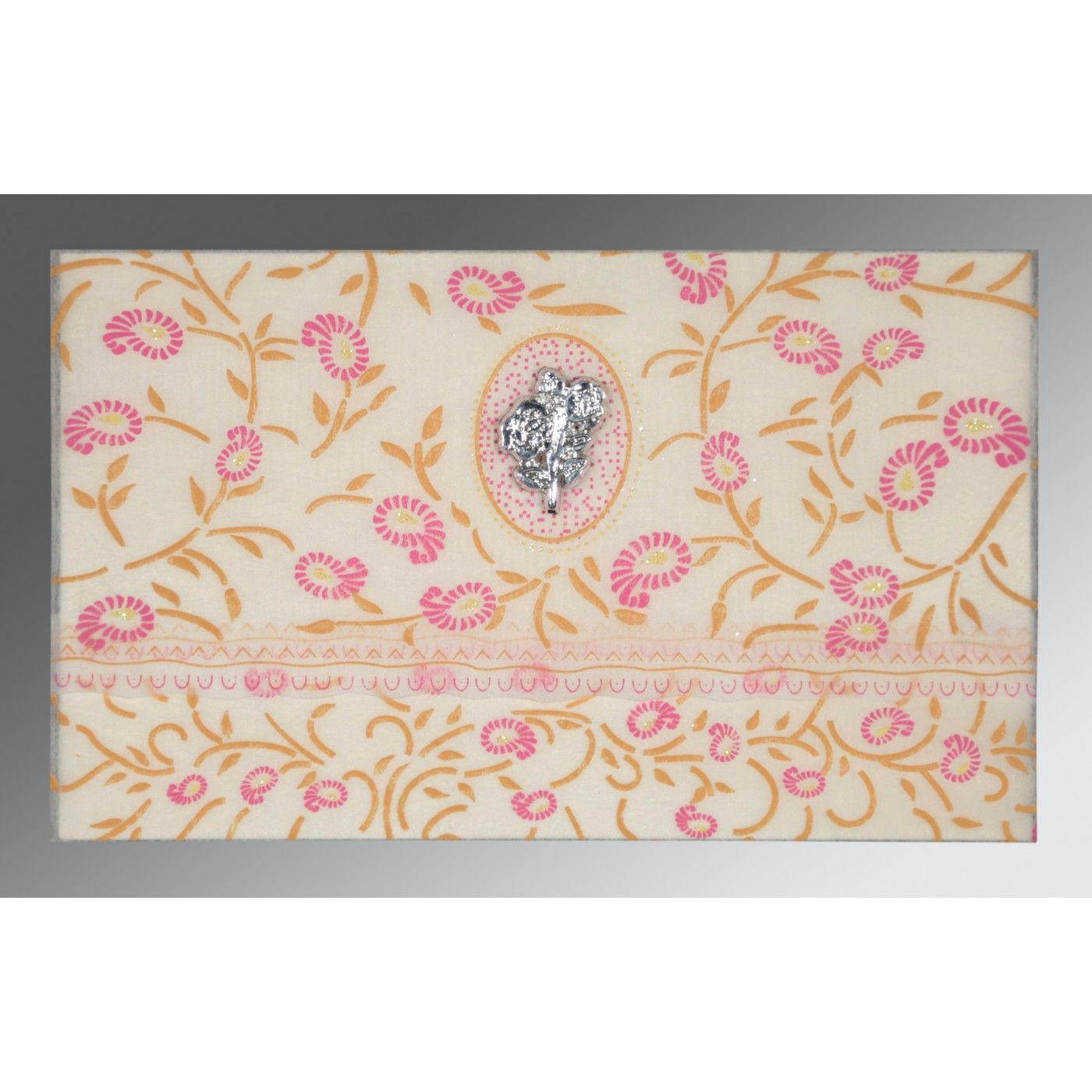 OFF-WHITE WOOLY FLORAL THEMED - GLITTER WEDDING CARD : CI-8206F - IndianWeddingCards
