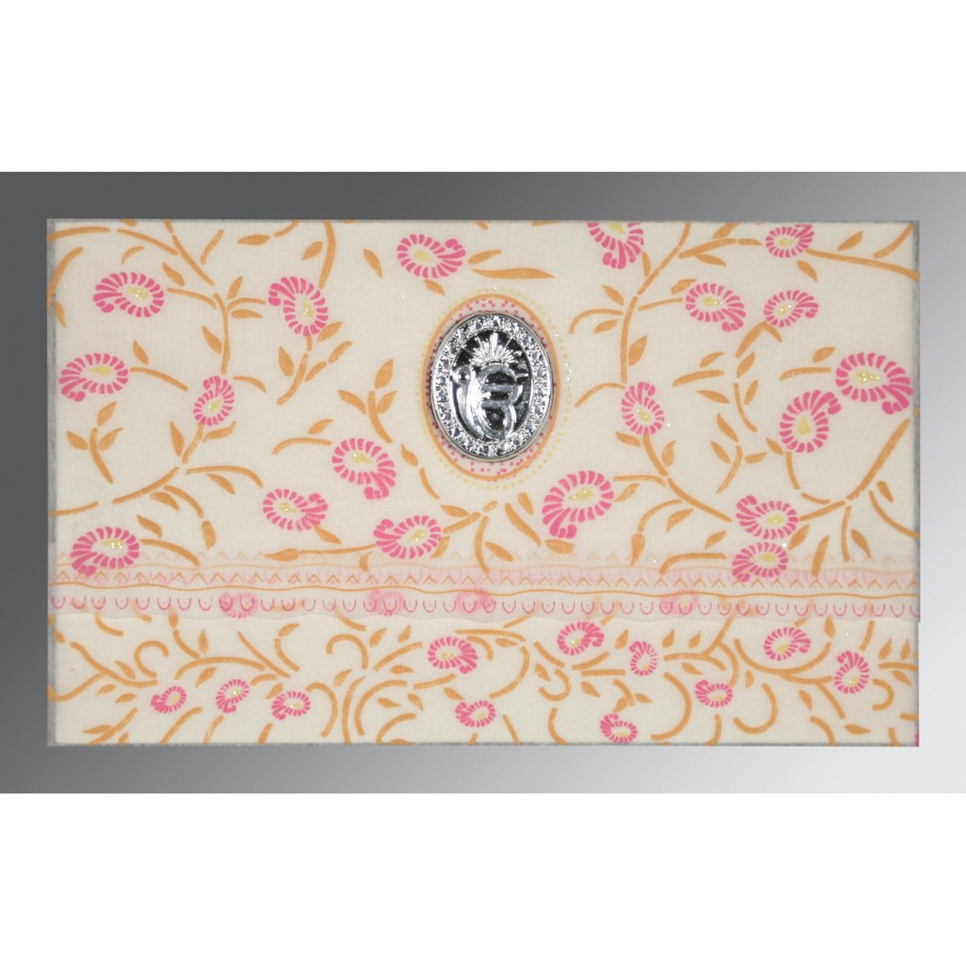 OFF-WHITE WOOLY FLORAL THEMED - GLITTER WEDDING CARD : CS-8206F - IndianWeddingCards