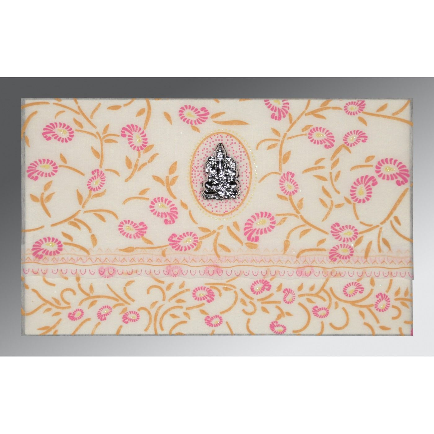 OFF-WHITE WOOLY FLORAL THEMED - GLITTER WEDDING CARD : CW-8206F - IndianWeddingCards