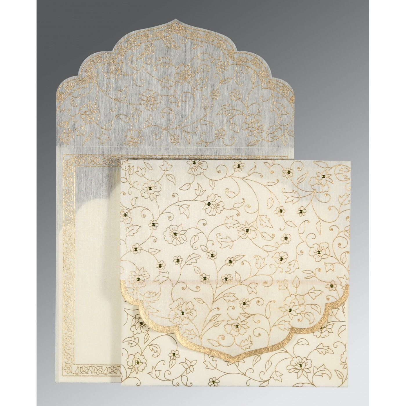 CREAM WOOLY FLORAL THEMED - SCREEN PRINTED WEDDING INVITATION : CD-8211G - IndianWeddingCards