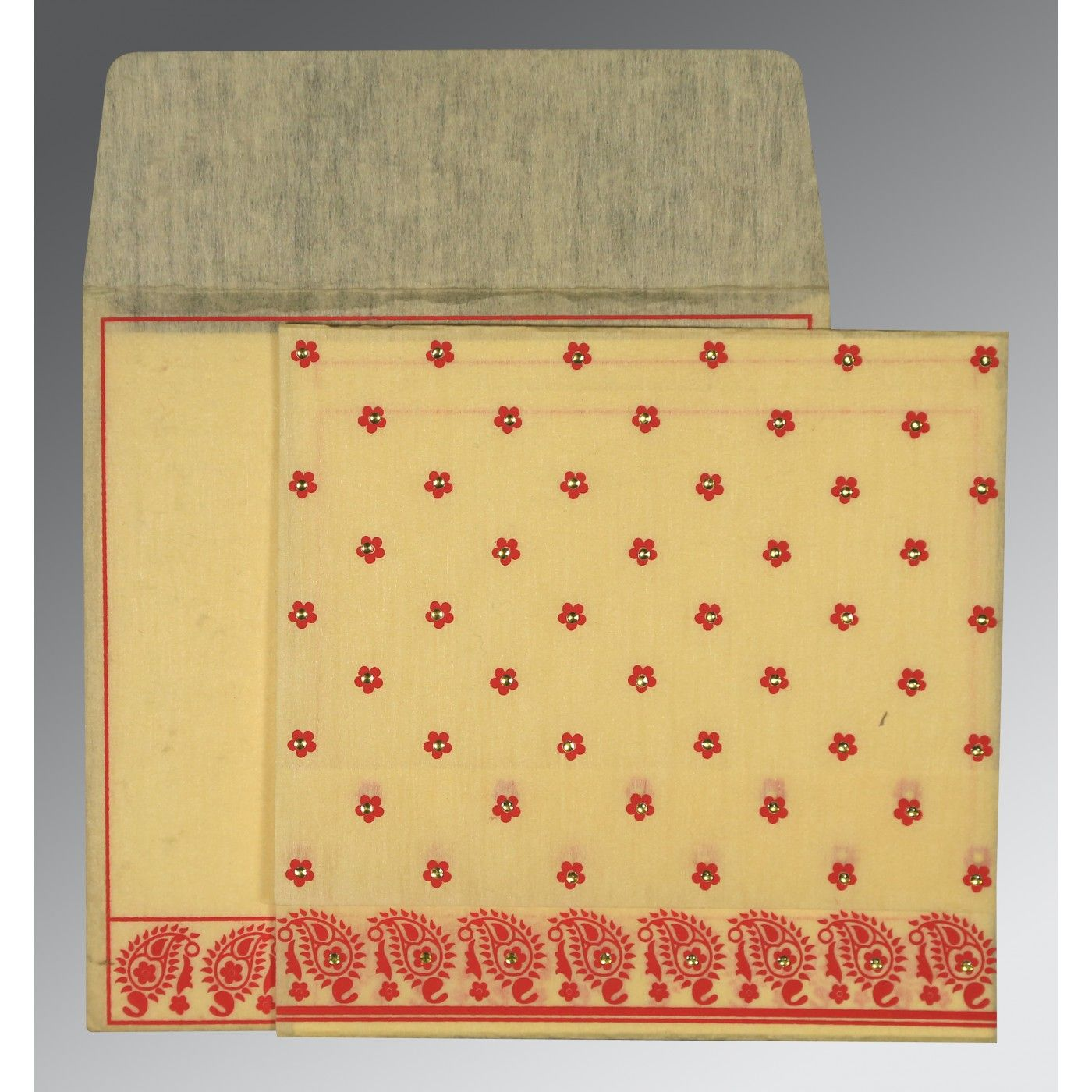 MUSTARD YELLOW WOOLY FLORAL THEMED - SCREEN PRINTED WEDDING CARD : CI-8218B - IndianWeddingCards