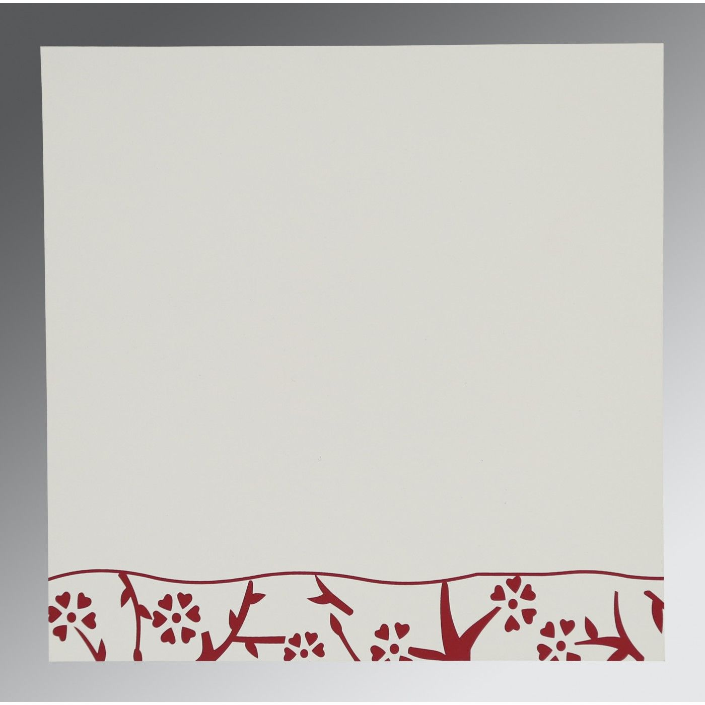 WHITE WOOLY FLORAL THEMED - SCREEN PRINTED WEDDING INVITATION : CS-8216B - IndianWeddingCards