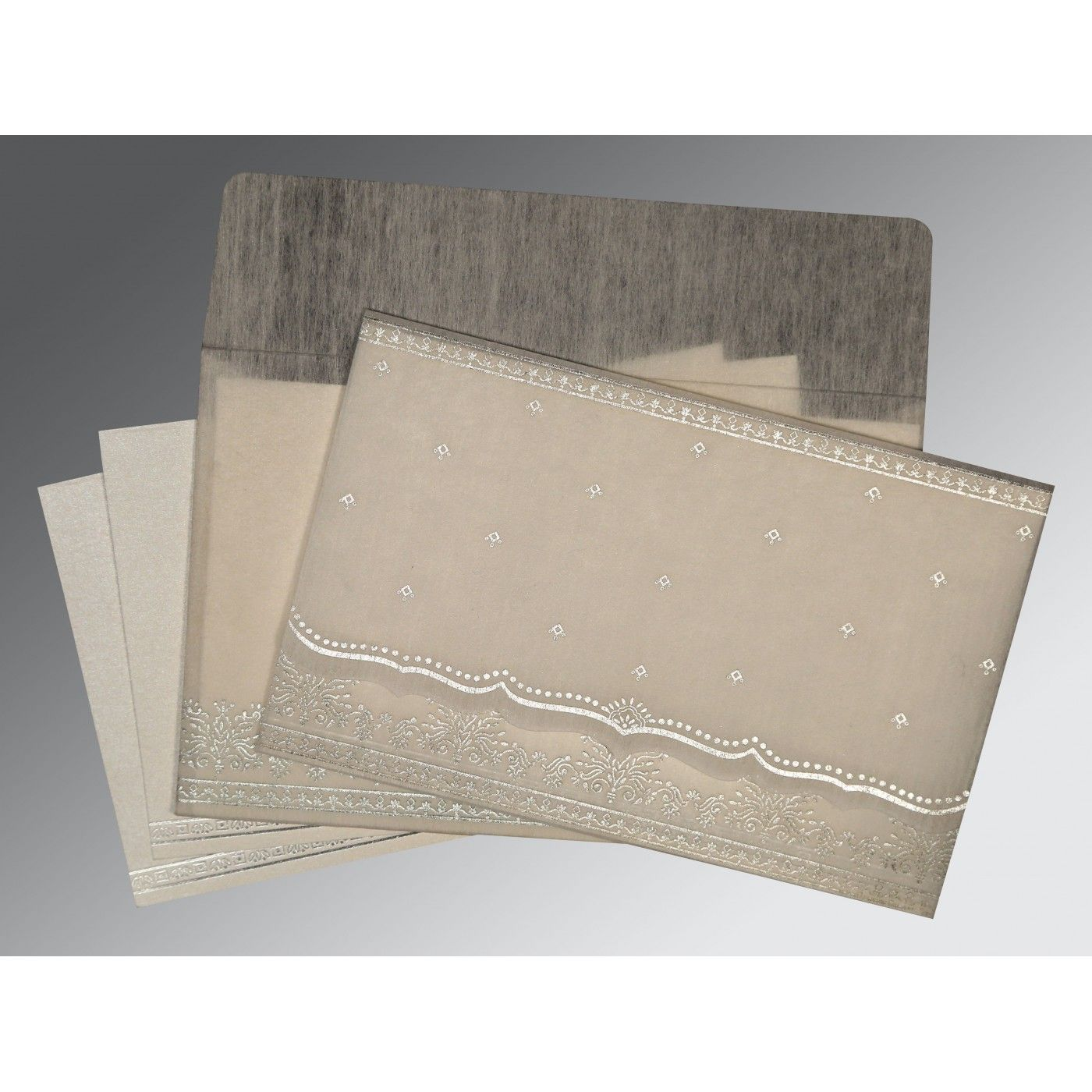 GREY WOOLY FOIL STAMPED WEDDING INVITATION : CRU-8241A - IndianWeddingCards